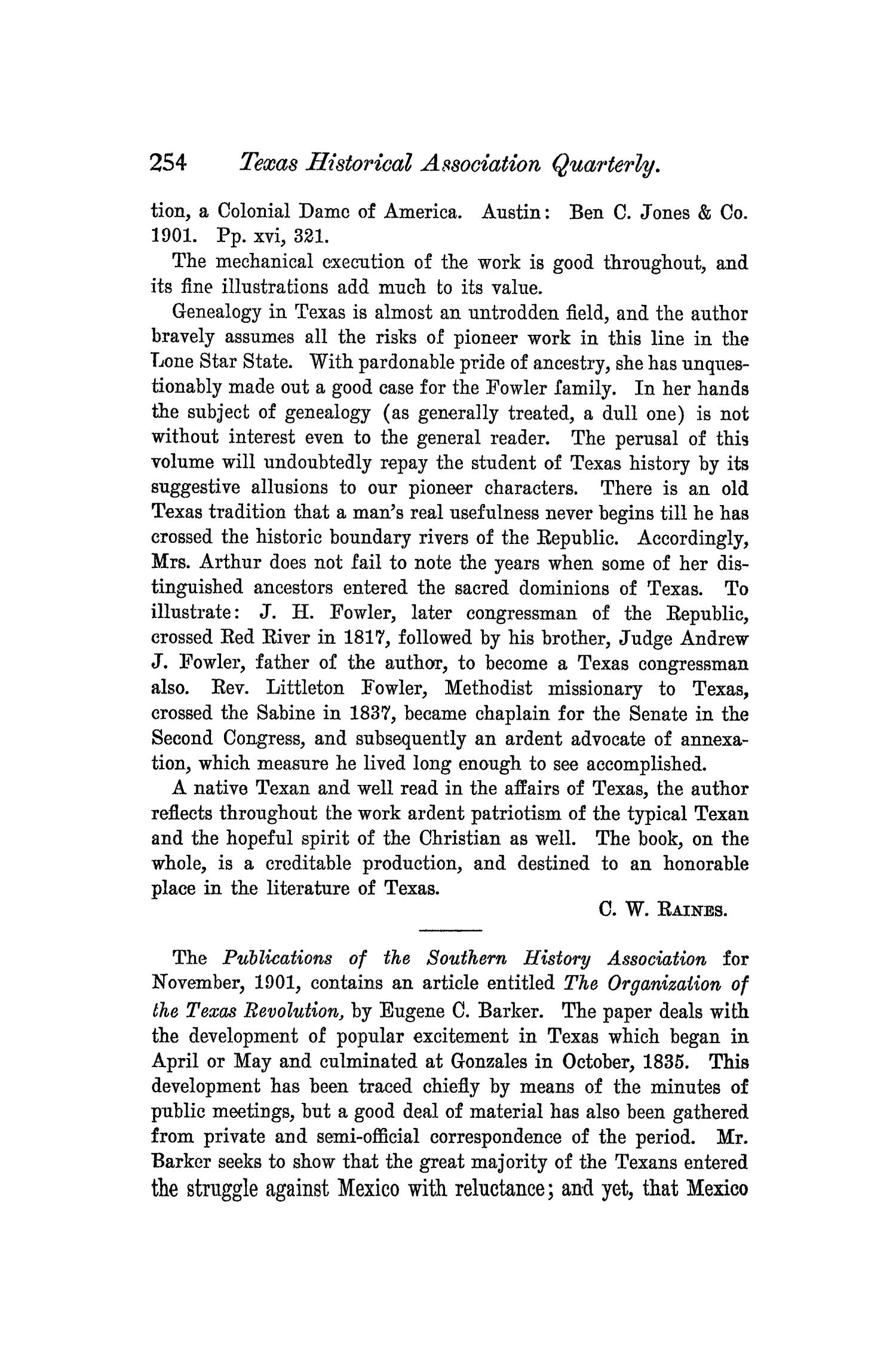 The Quarterly of the Texas State Historical Association, Volume 5, July 1901 - April, 1902                                                                                                      254