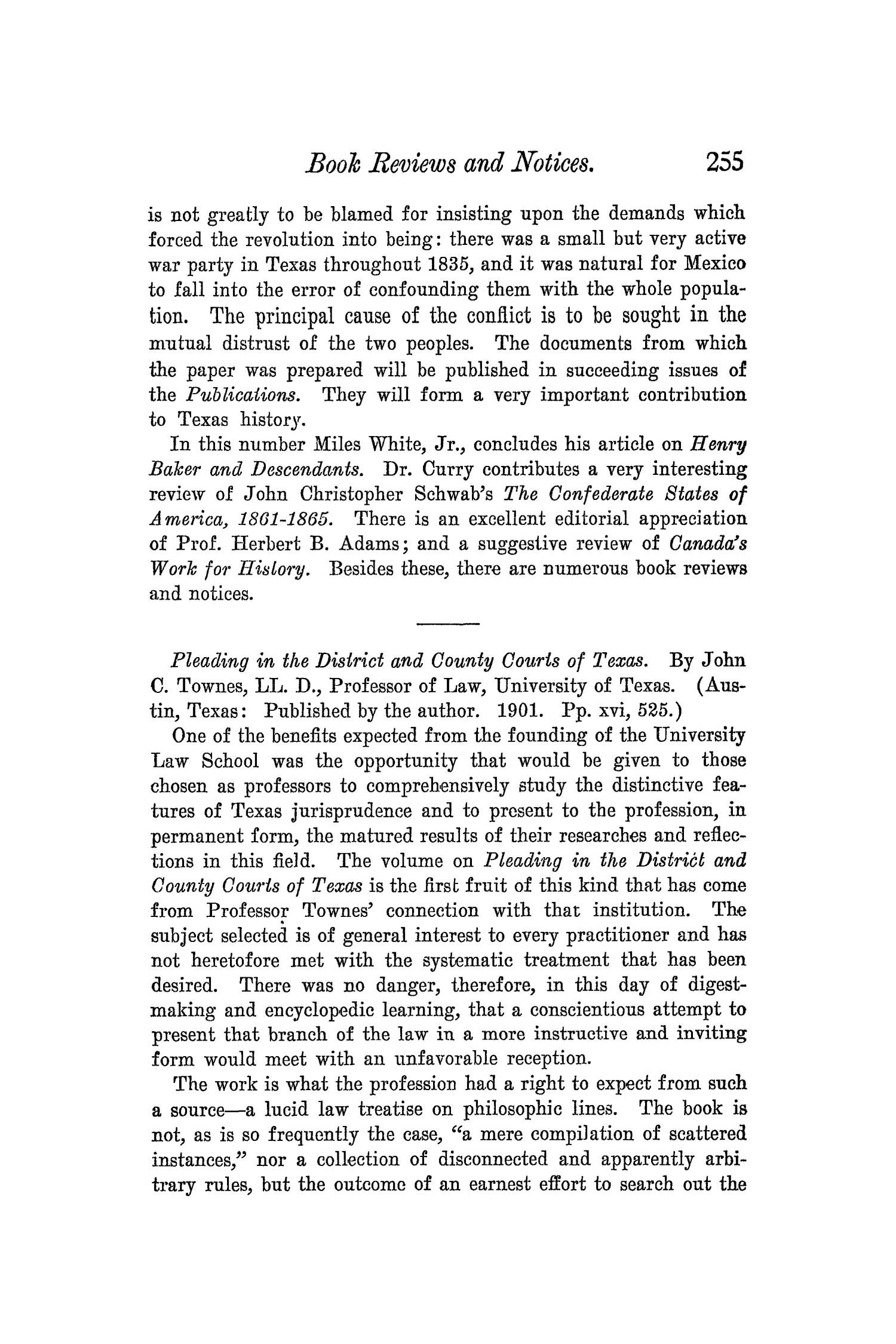 The Quarterly of the Texas State Historical Association, Volume 5, July 1901 - April, 1902                                                                                                      255