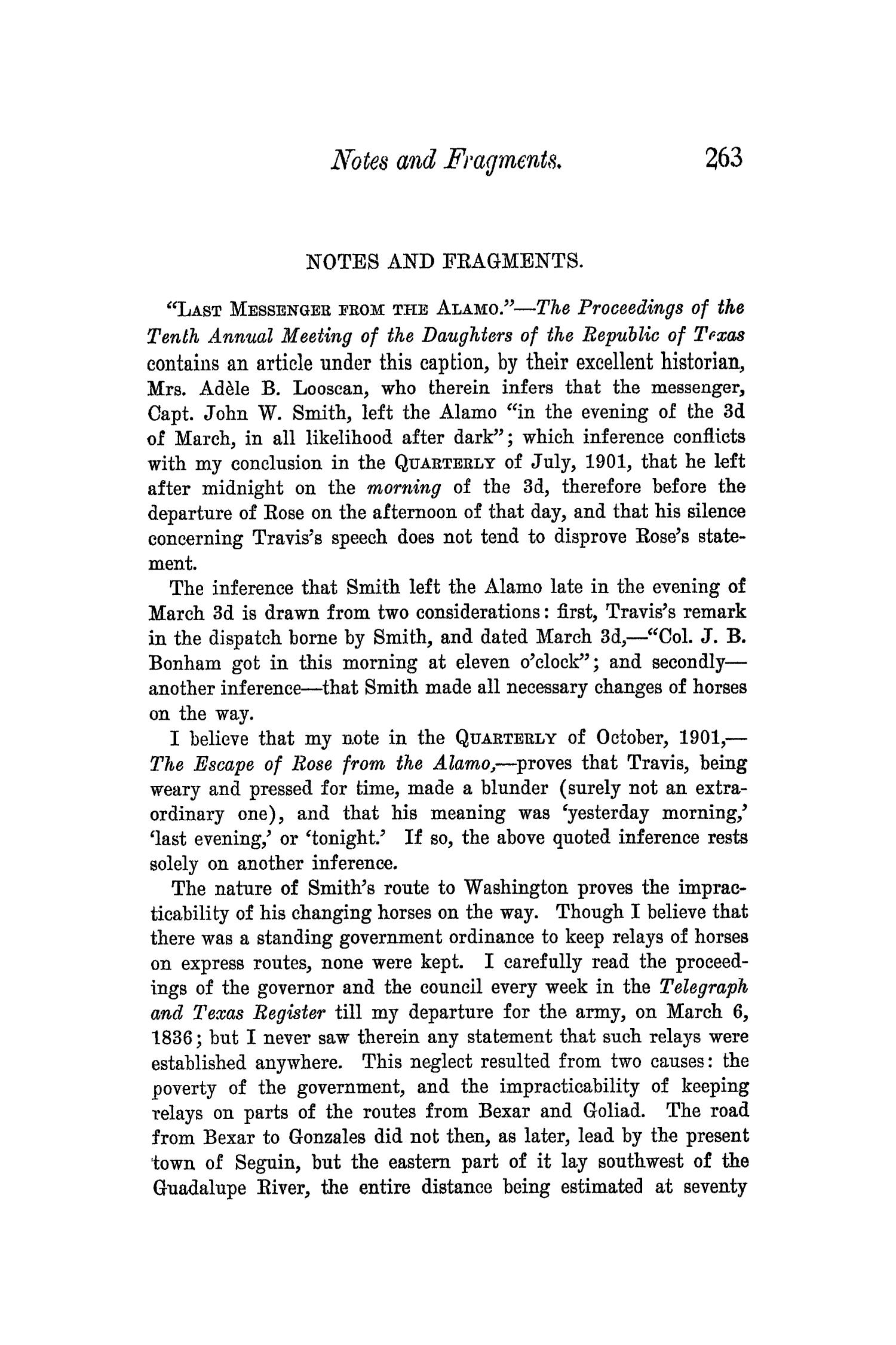 The Quarterly of the Texas State Historical Association, Volume 5, July 1901 - April, 1902                                                                                                      263