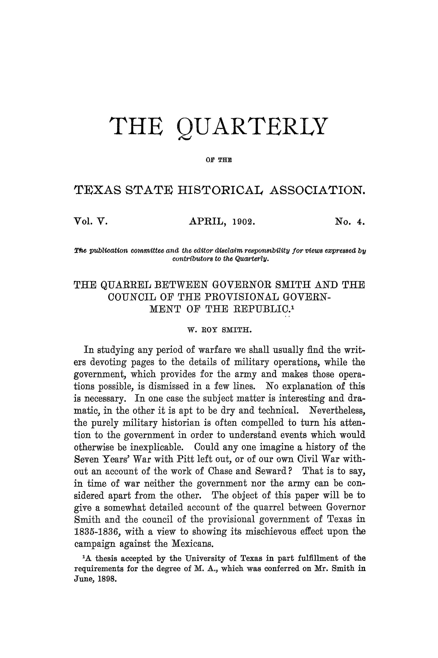 The Quarterly of the Texas State Historical Association, Volume 5, July 1901 - April, 1902                                                                                                      269