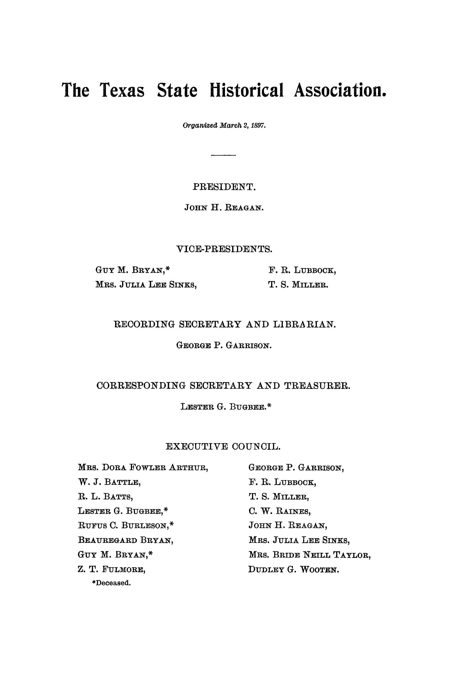 The Quarterly of the Texas State Historical Association, Volume 5, July 1901 - April, 1902                                                                                                      None
