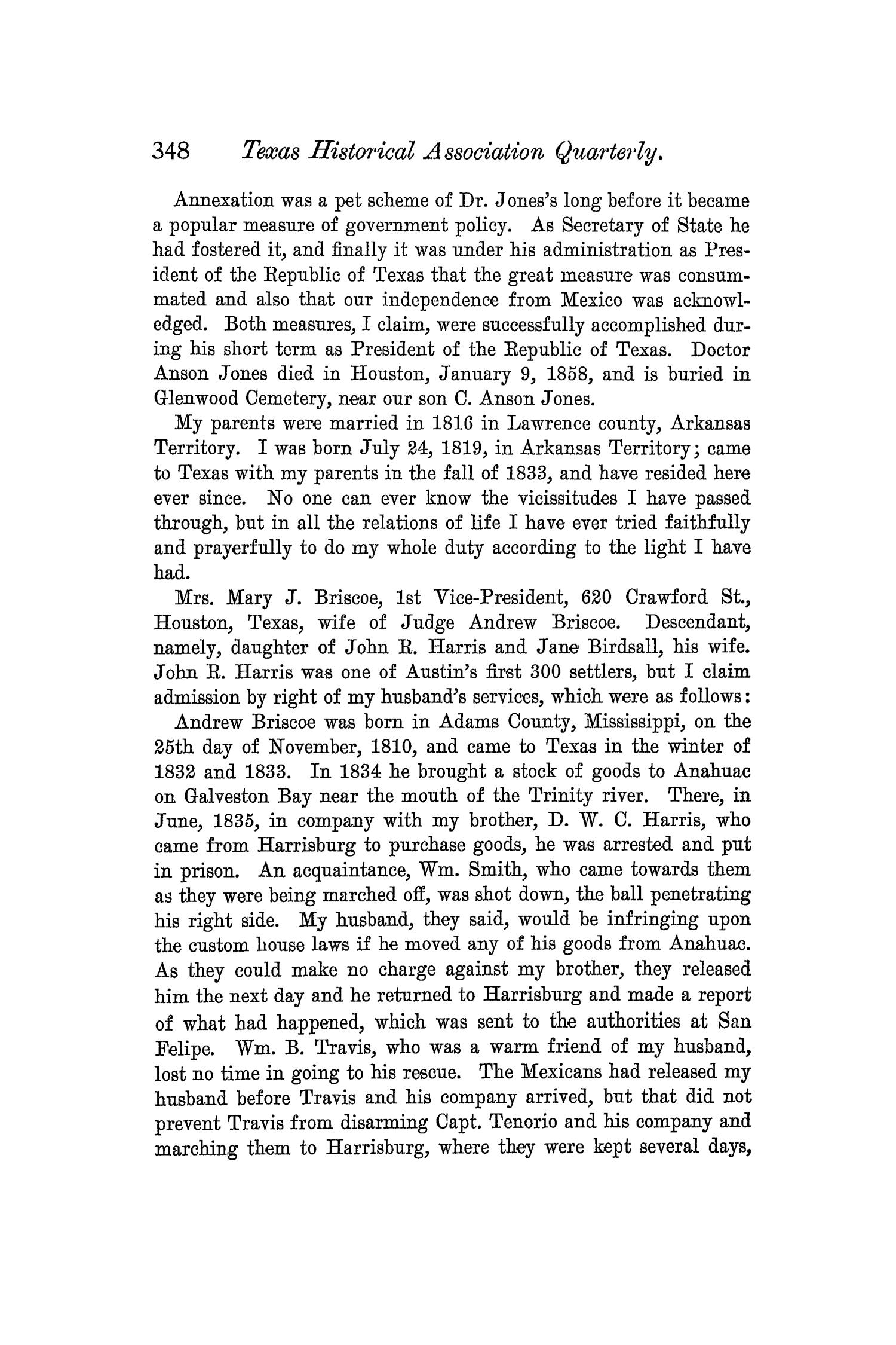 The Quarterly of the Texas State Historical Association, Volume 5, July 1901 - April, 1902                                                                                                      348