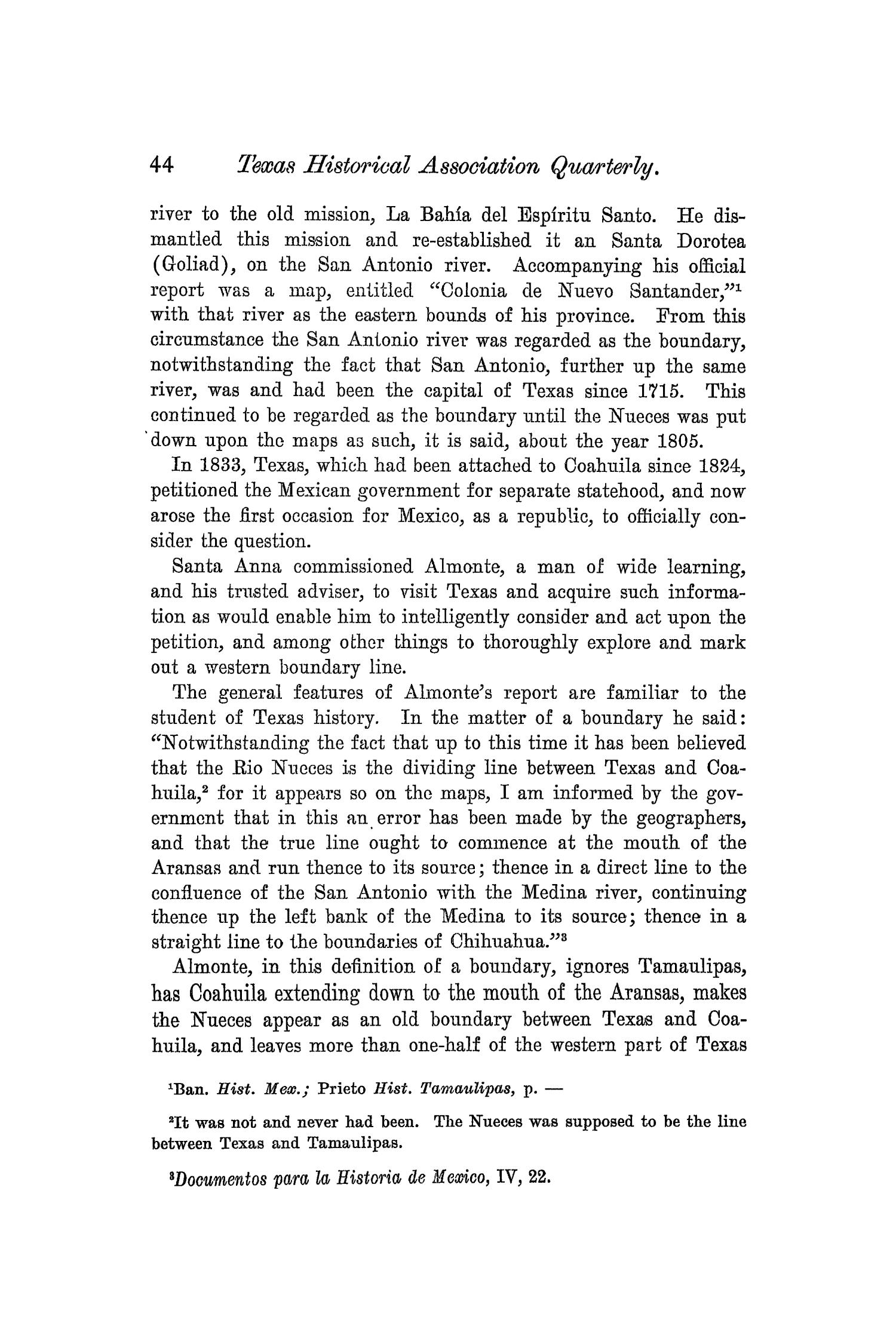 The Quarterly of the Texas State Historical Association, Volume 5, July 1901 - April, 1902                                                                                                      44