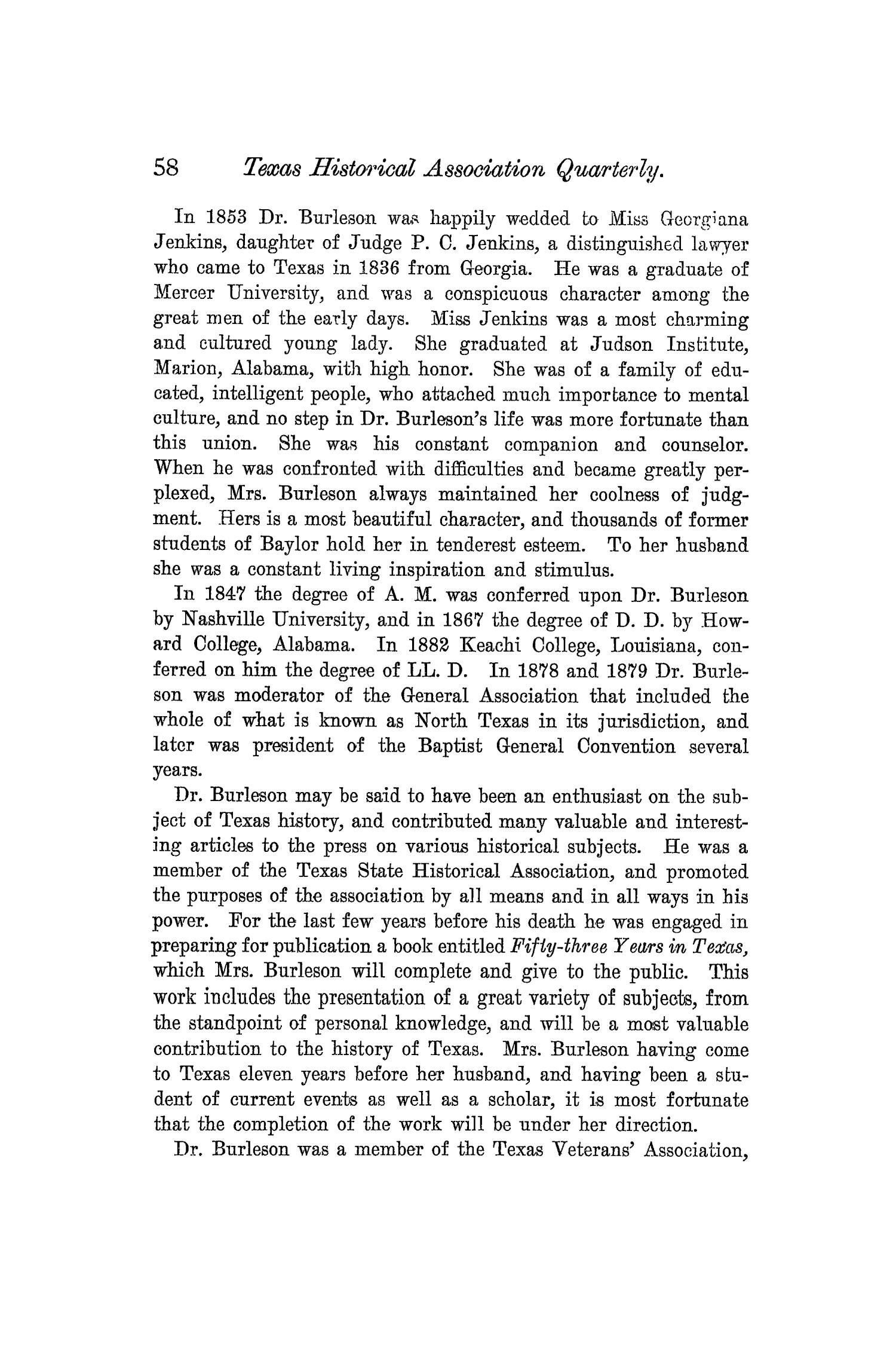 The Quarterly of the Texas State Historical Association, Volume 5, July 1901 - April, 1902                                                                                                      58