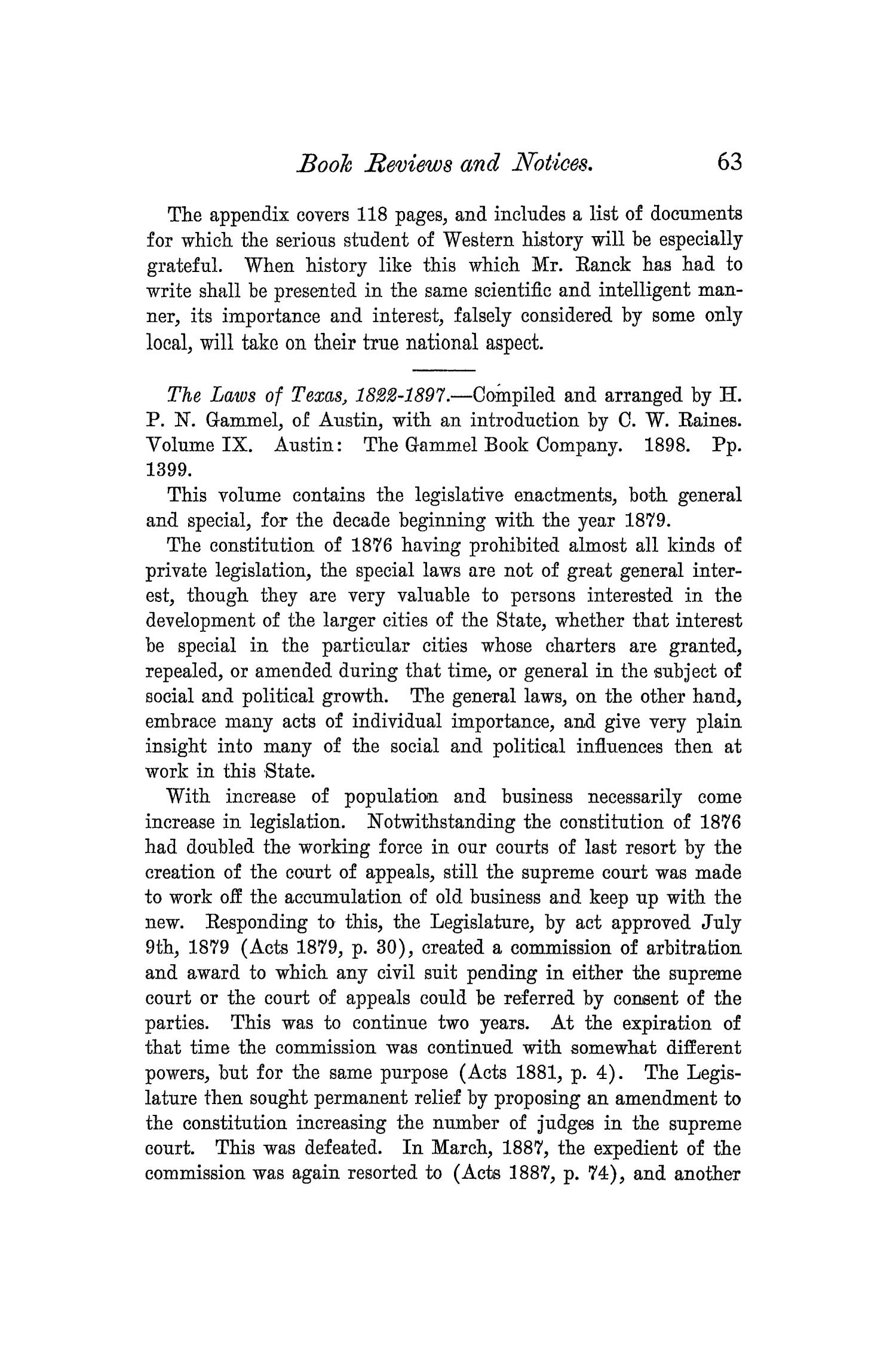 The Quarterly of the Texas State Historical Association, Volume 5, July 1901 - April, 1902                                                                                                      63