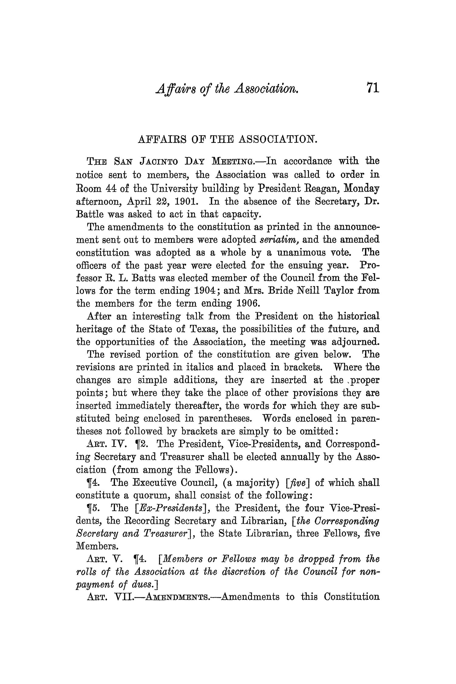 The Quarterly of the Texas State Historical Association, Volume 5, July 1901 - April, 1902                                                                                                      71