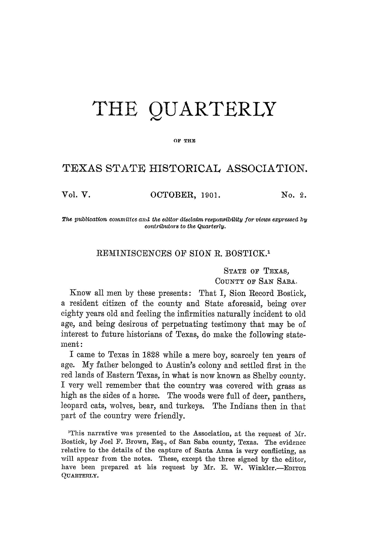 The Quarterly of the Texas State Historical Association, Volume 5, July 1901 - April, 1902                                                                                                      85