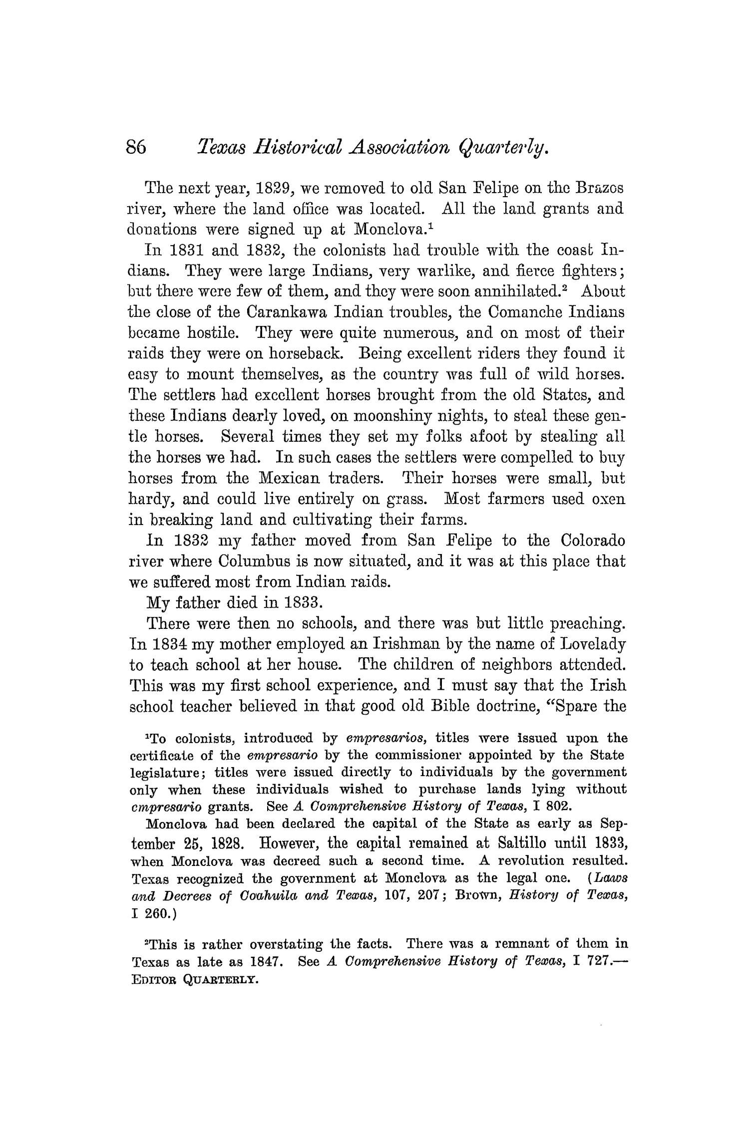 The Quarterly of the Texas State Historical Association, Volume 5, July 1901 - April, 1902                                                                                                      86