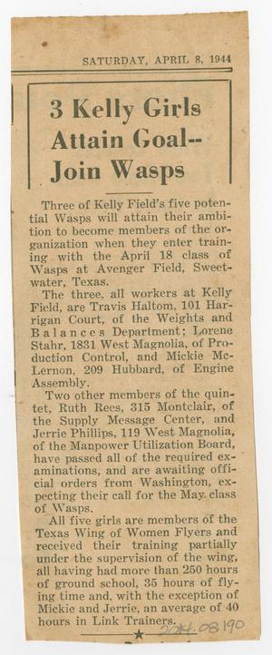 Primary view of object titled '[Clipping: Three Kelly Girls Attain Goal--Join Wasps]'.
