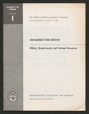 Primary view of object titled 'Academic Year 1968-1969, Unit 1: Military Requirements and National Resources'.