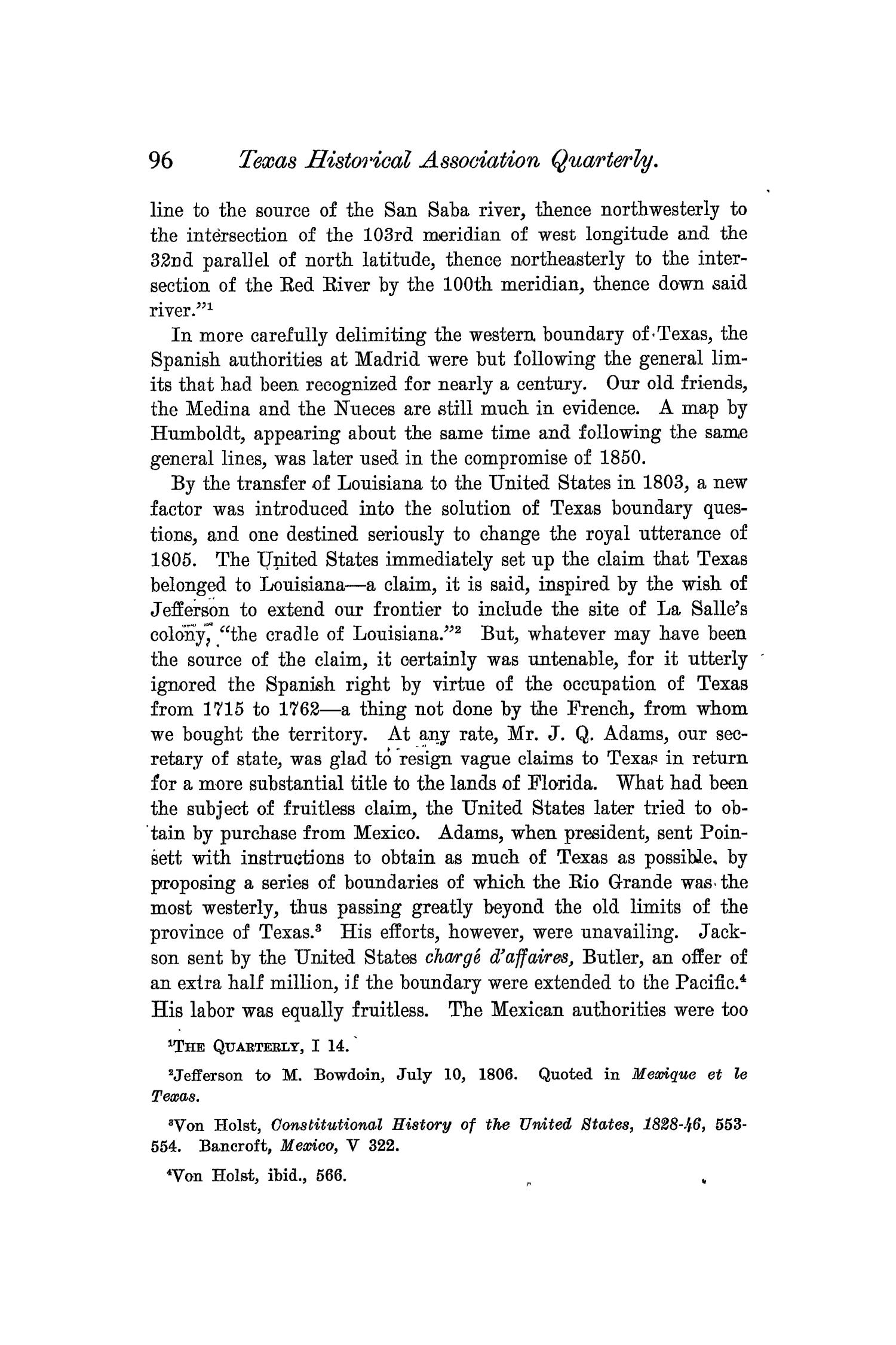 The Quarterly of the Texas State Historical Association, Volume 6, July 1902 - April, 1903                                                                                                      96