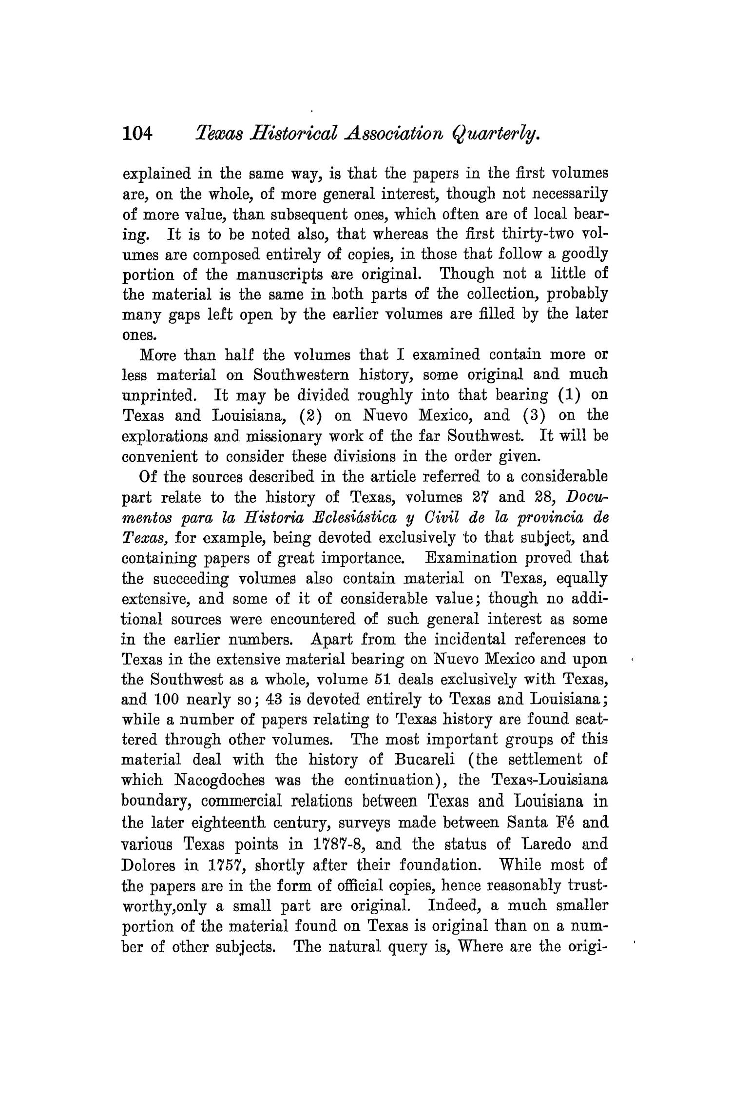 The Quarterly of the Texas State Historical Association, Volume 6, July 1902 - April, 1903                                                                                                      104