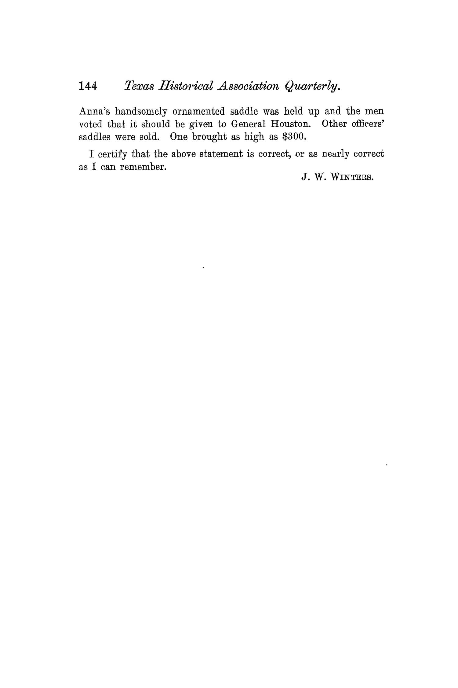 The Quarterly of the Texas State Historical Association, Volume 6, July 1902 - April, 1903                                                                                                      144