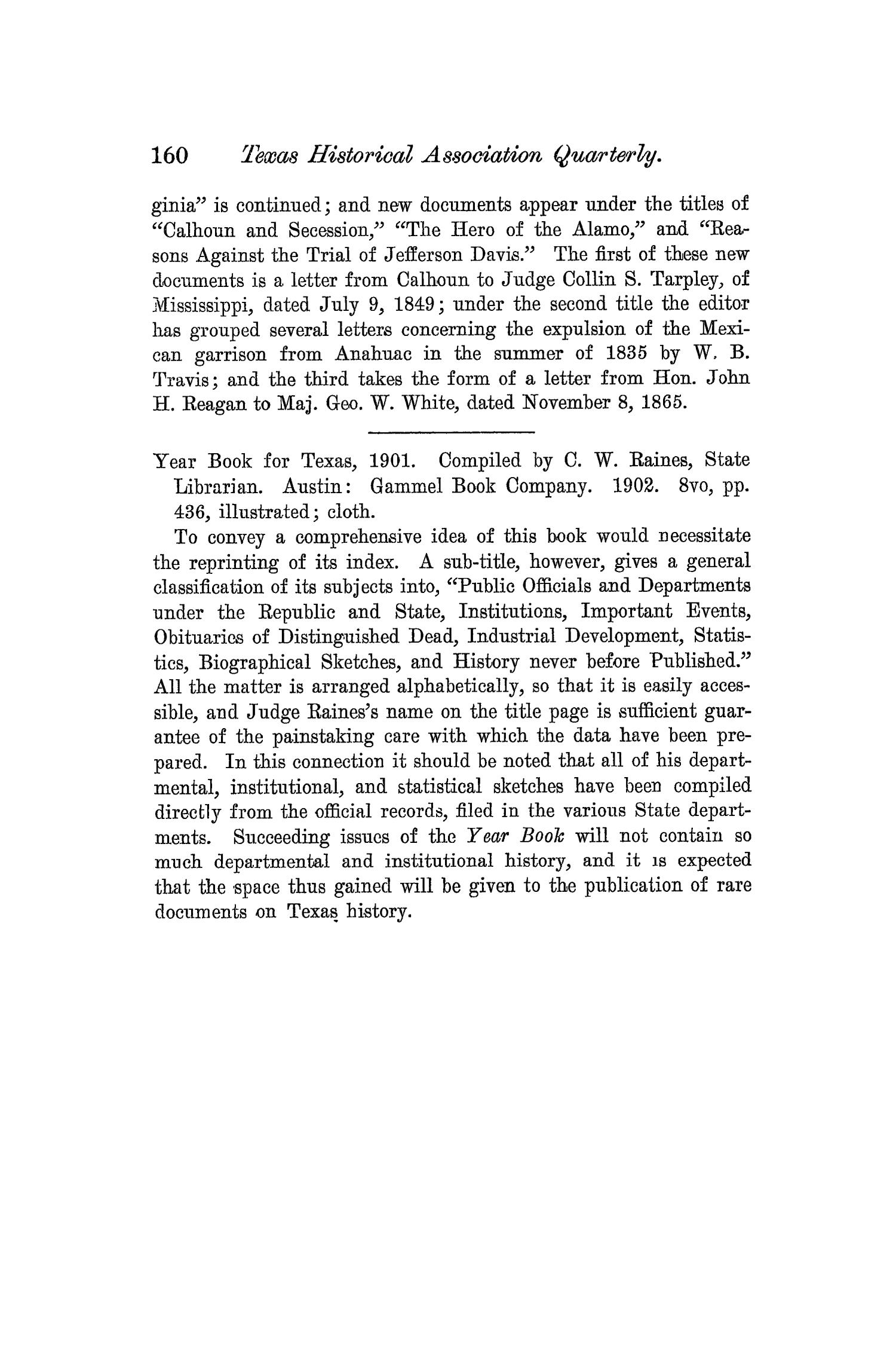 The Quarterly of the Texas State Historical Association, Volume 6, July 1902 - April, 1903                                                                                                      160