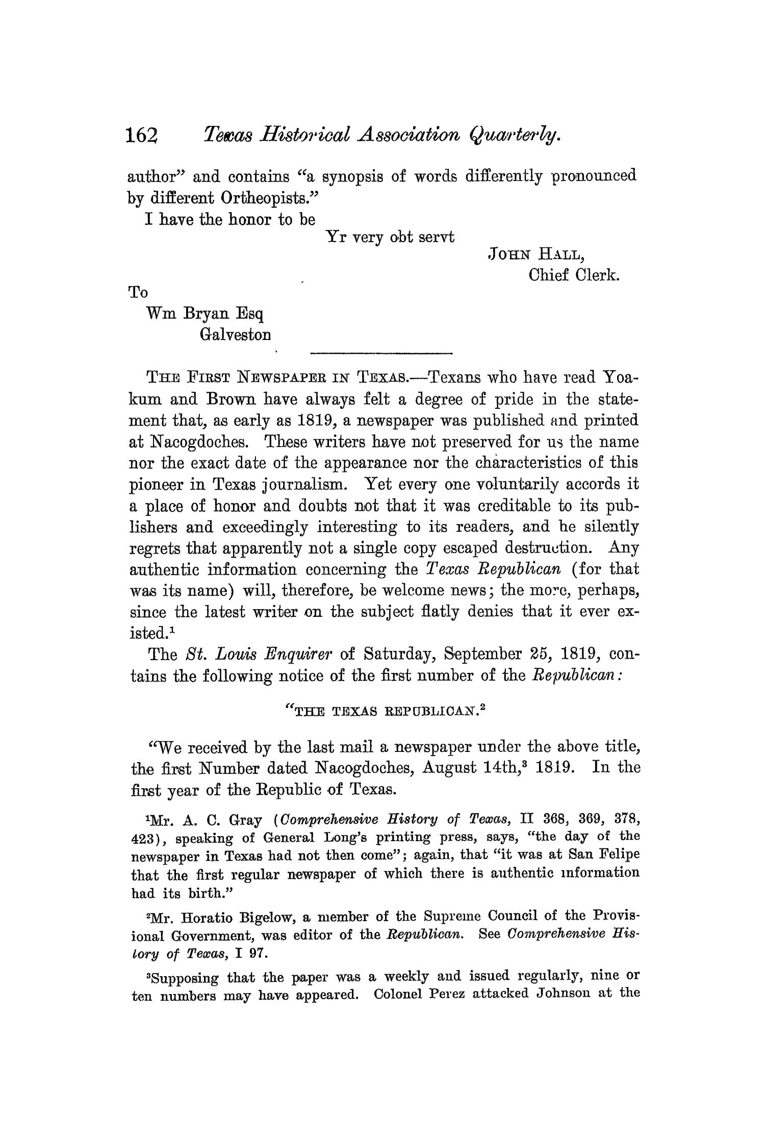 The Quarterly of the Texas State Historical Association, Volume 6, July 1902 - April, 1903                                                                                                      162
