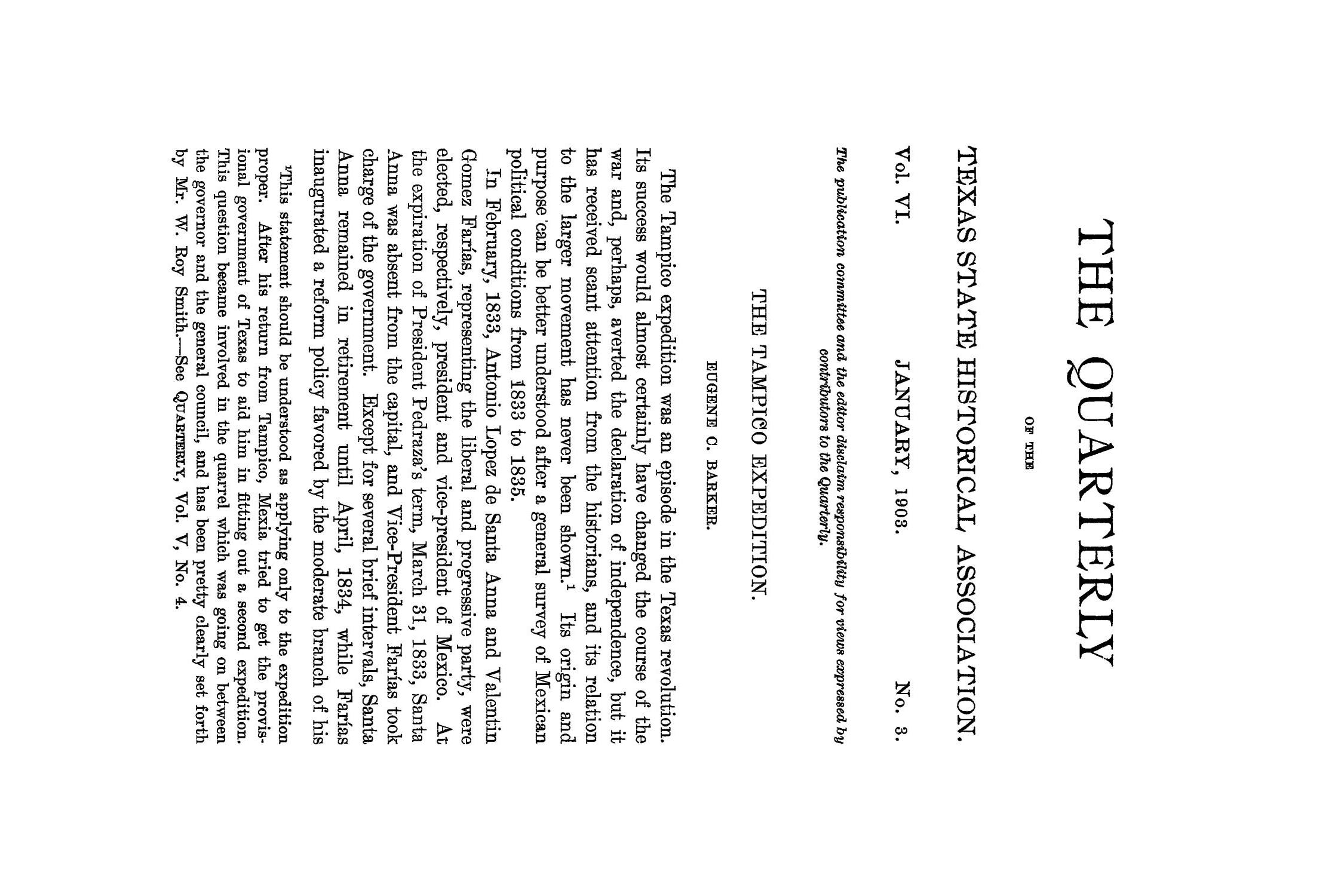 The Quarterly of the Texas State Historical Association, Volume 6, July 1902 - April, 1903                                                                                                      169