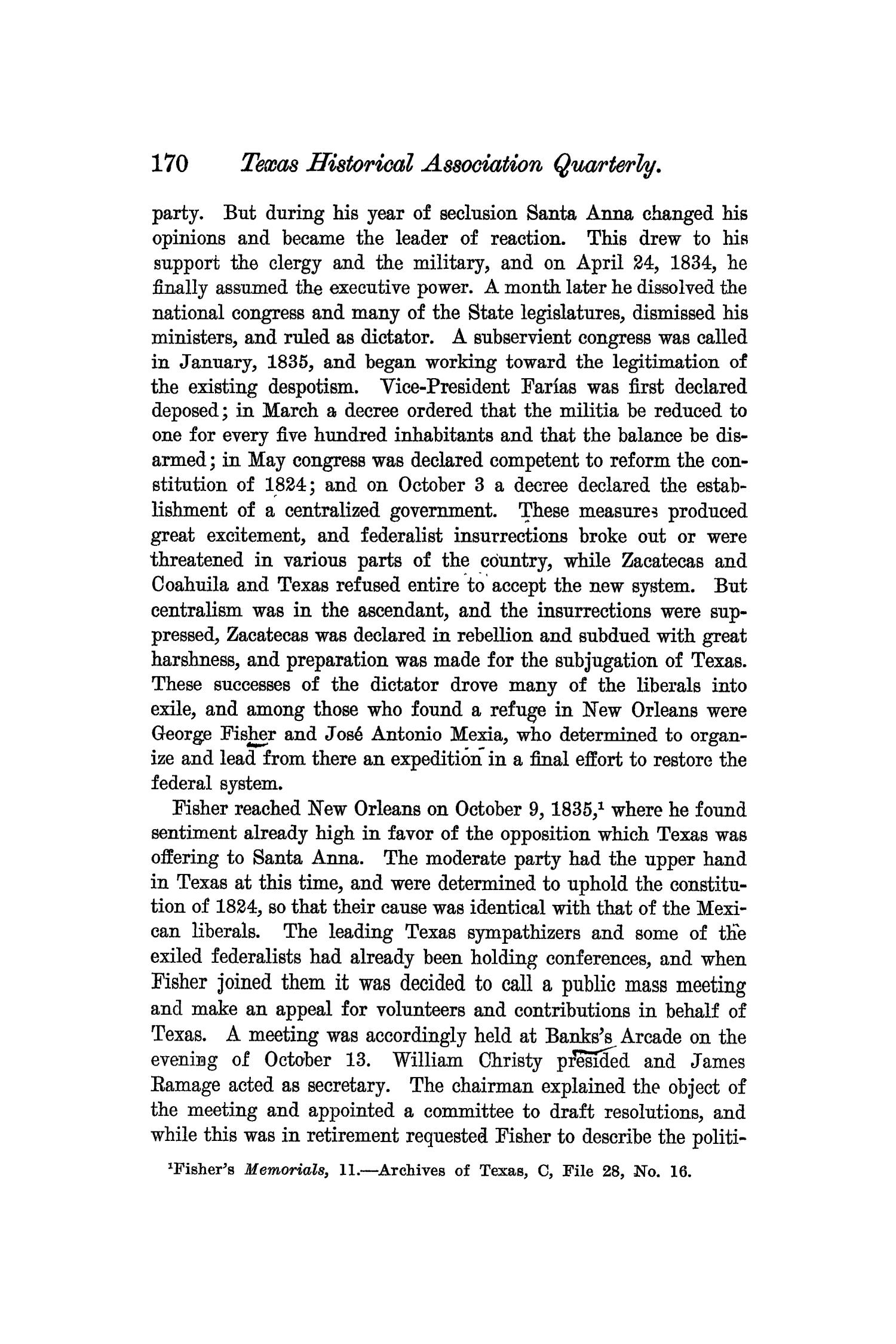 The Quarterly of the Texas State Historical Association, Volume 6, July 1902 - April, 1903                                                                                                      170