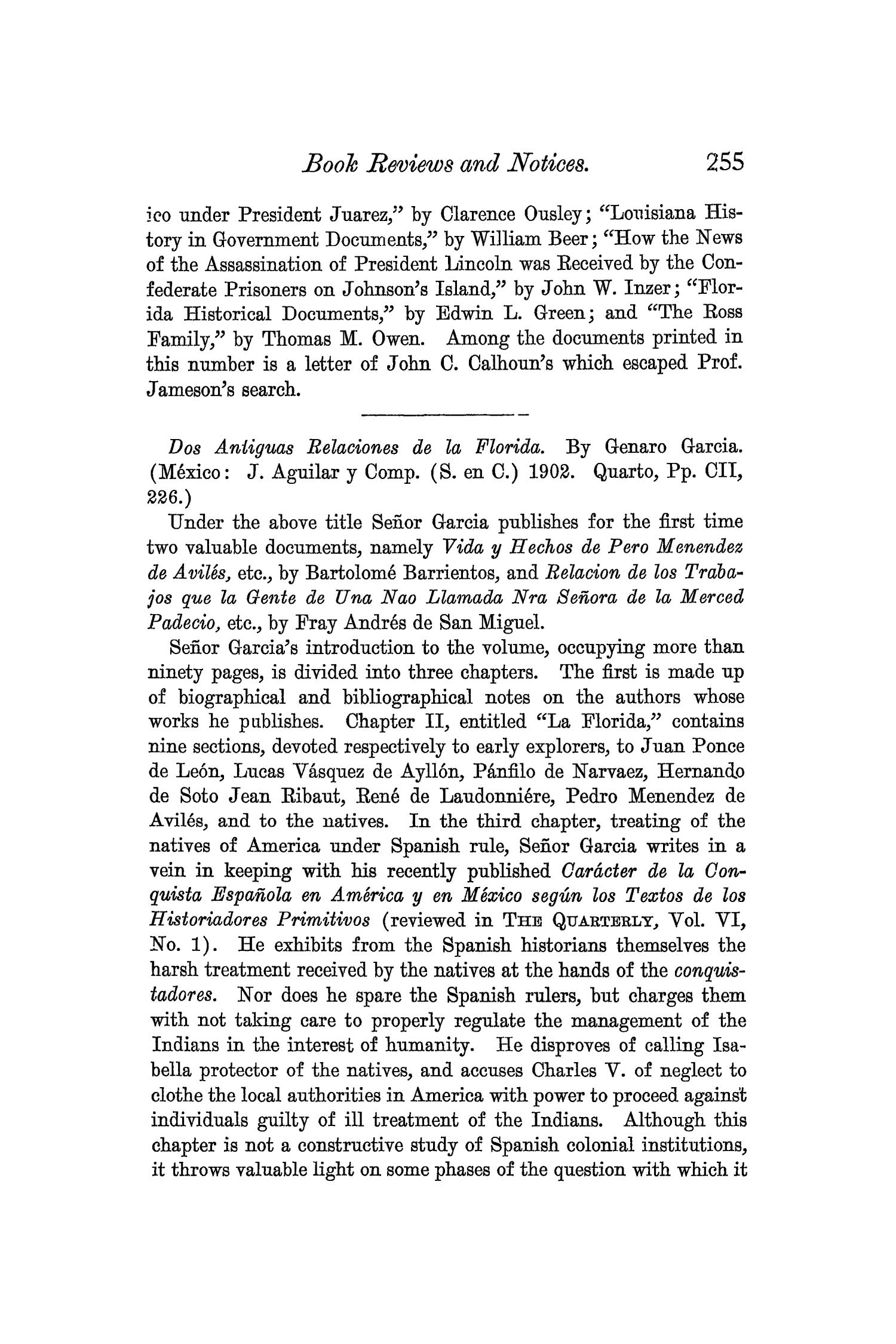 The Quarterly of the Texas State Historical Association, Volume 6, July 1902 - April, 1903                                                                                                      255