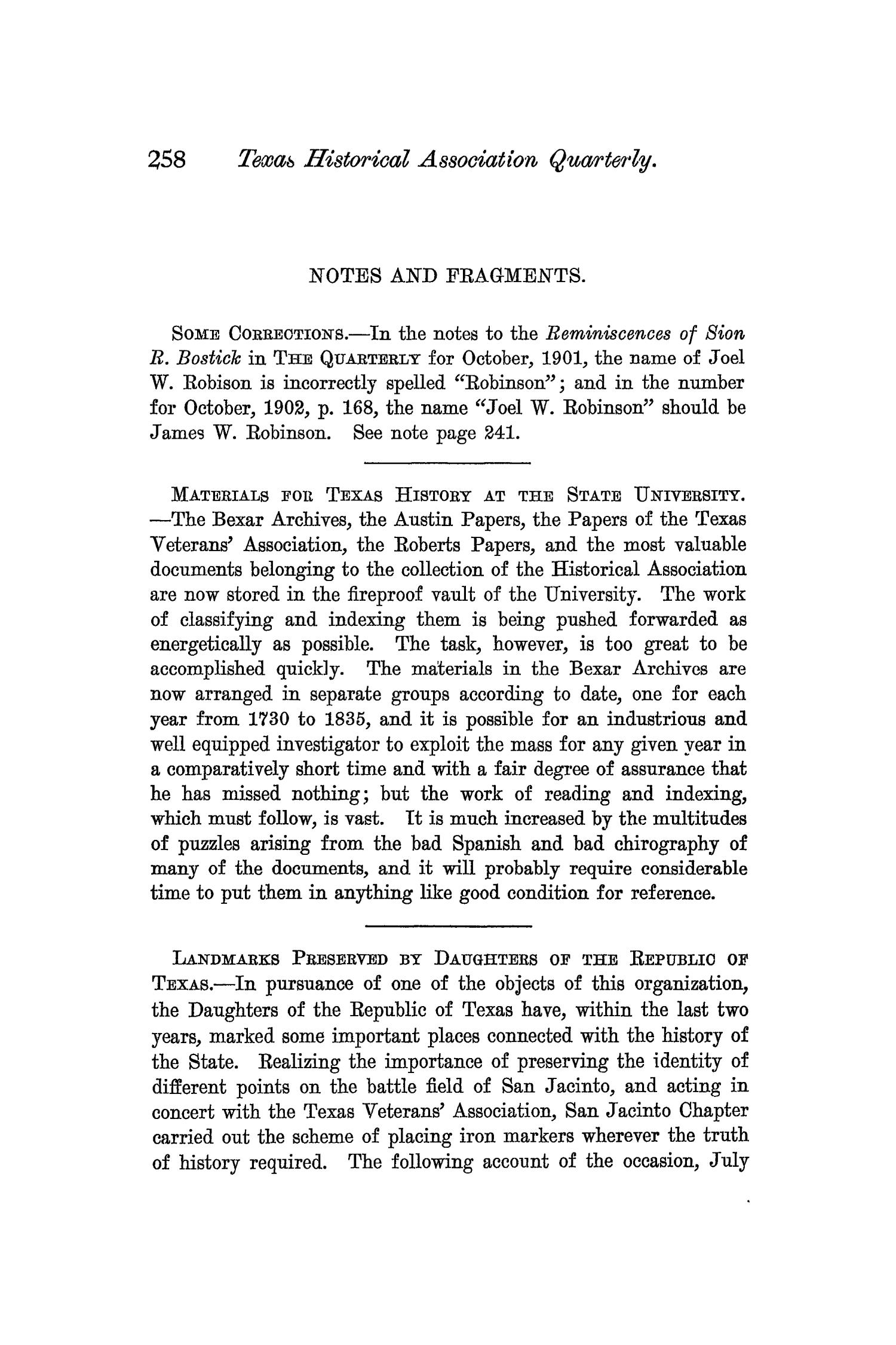 The Quarterly of the Texas State Historical Association, Volume 6, July 1902 - April, 1903                                                                                                      258