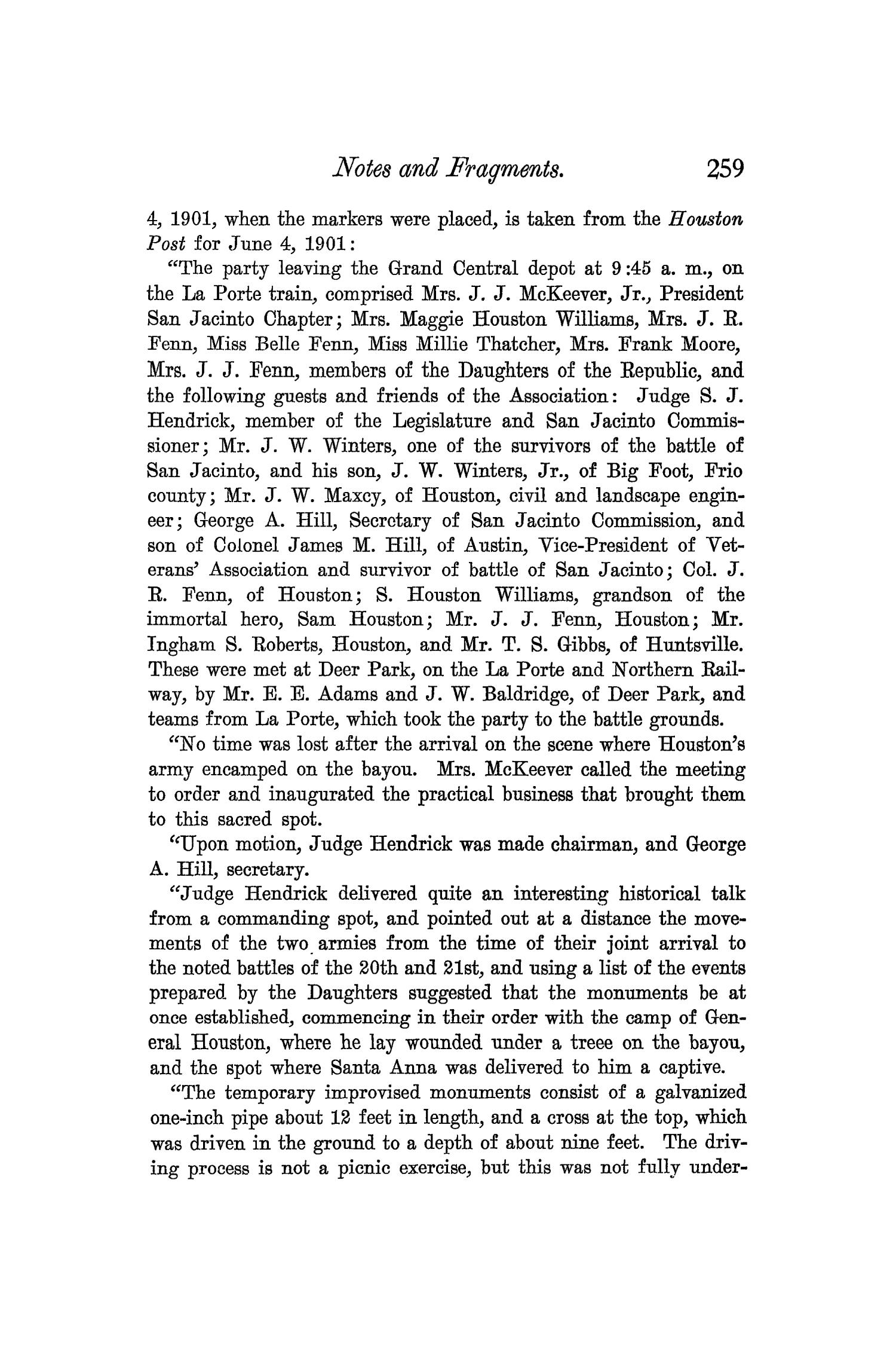 The Quarterly of the Texas State Historical Association, Volume 6, July 1902 - April, 1903                                                                                                      259