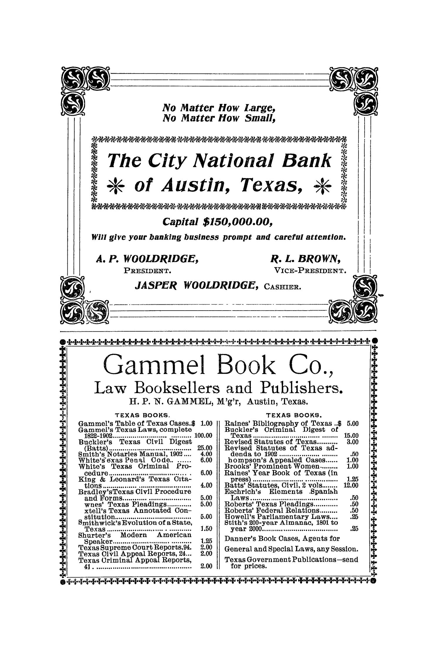 The Quarterly of the Texas State Historical Association, Volume 6, July 1902 - April, 1903                                                                                                      264