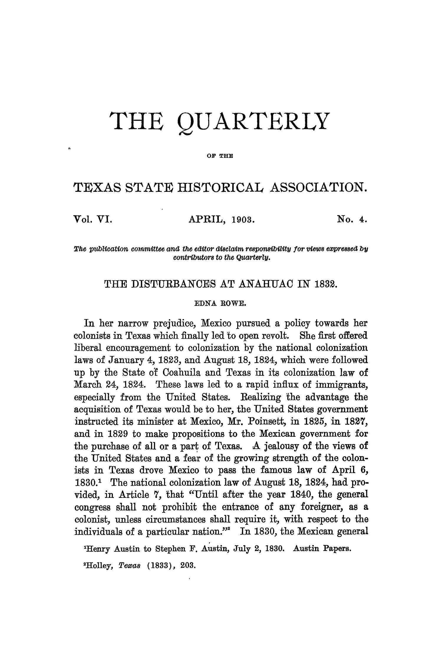 The Quarterly of the Texas State Historical Association, Volume 6, July 1902 - April, 1903                                                                                                      265
