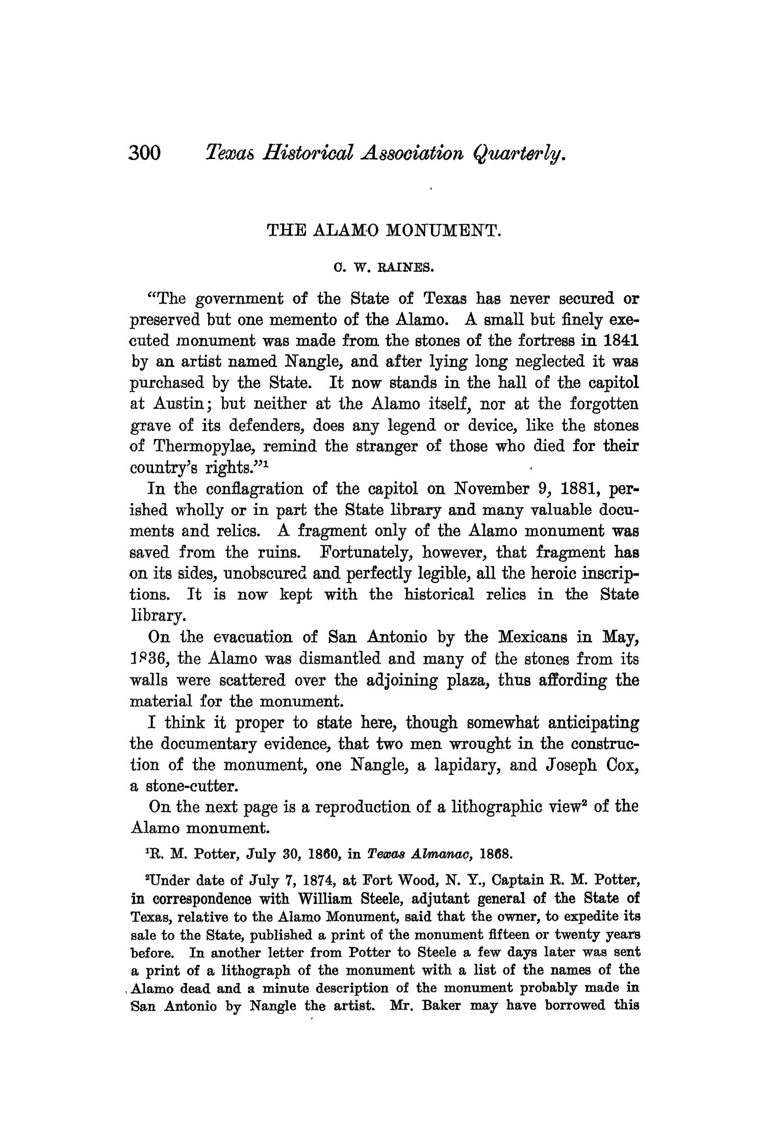 The Quarterly of the Texas State Historical Association, Volume 6, July 1902 - April, 1903                                                                                                      300
