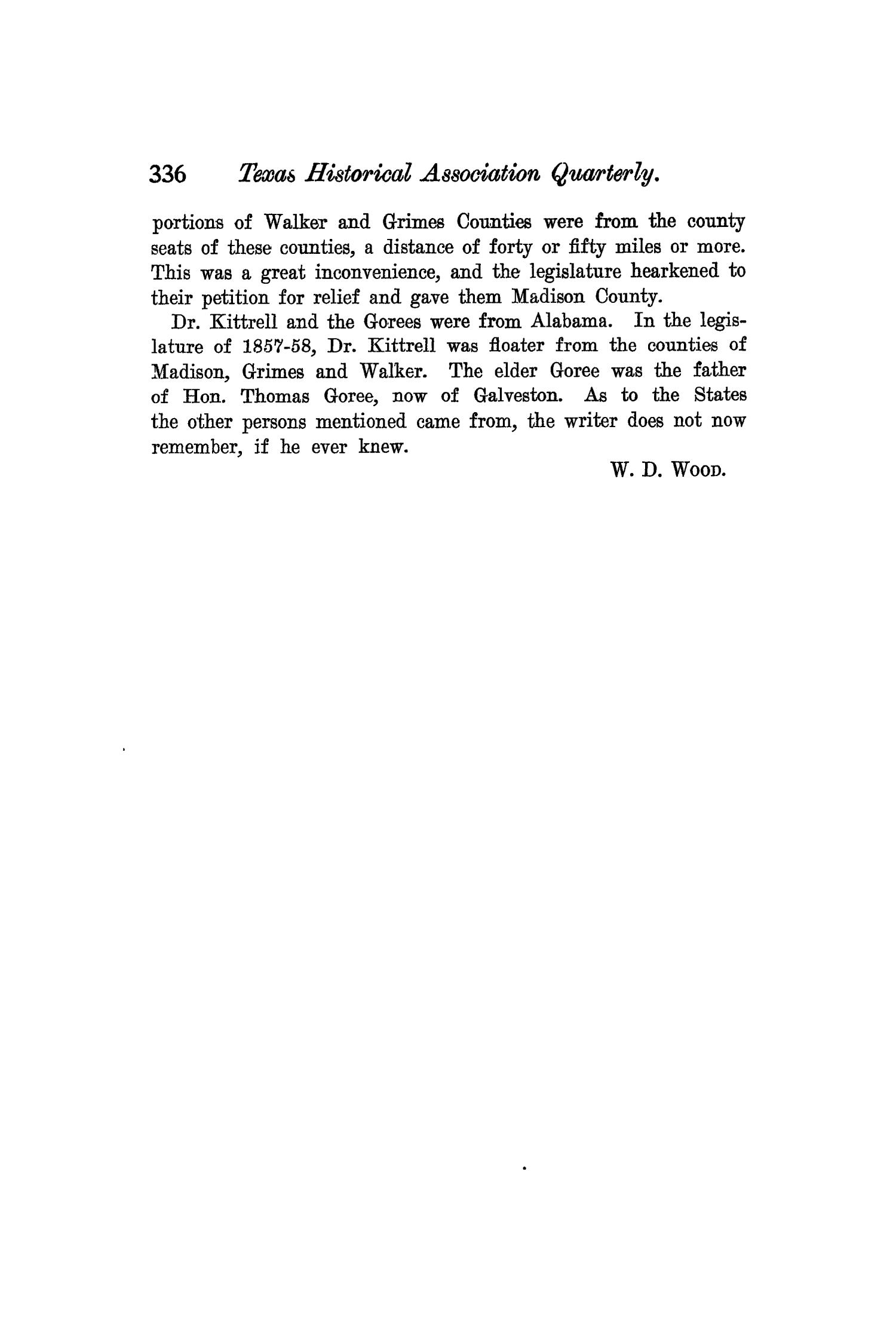 The Quarterly of the Texas State Historical Association, Volume 6, July 1902 - April, 1903                                                                                                      336