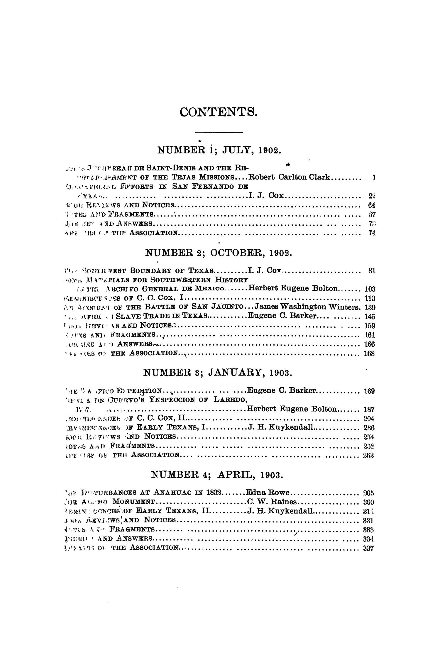 The Quarterly of the Texas State Historical Association, Volume 6, July 1902 - April, 1903                                                                                                      None