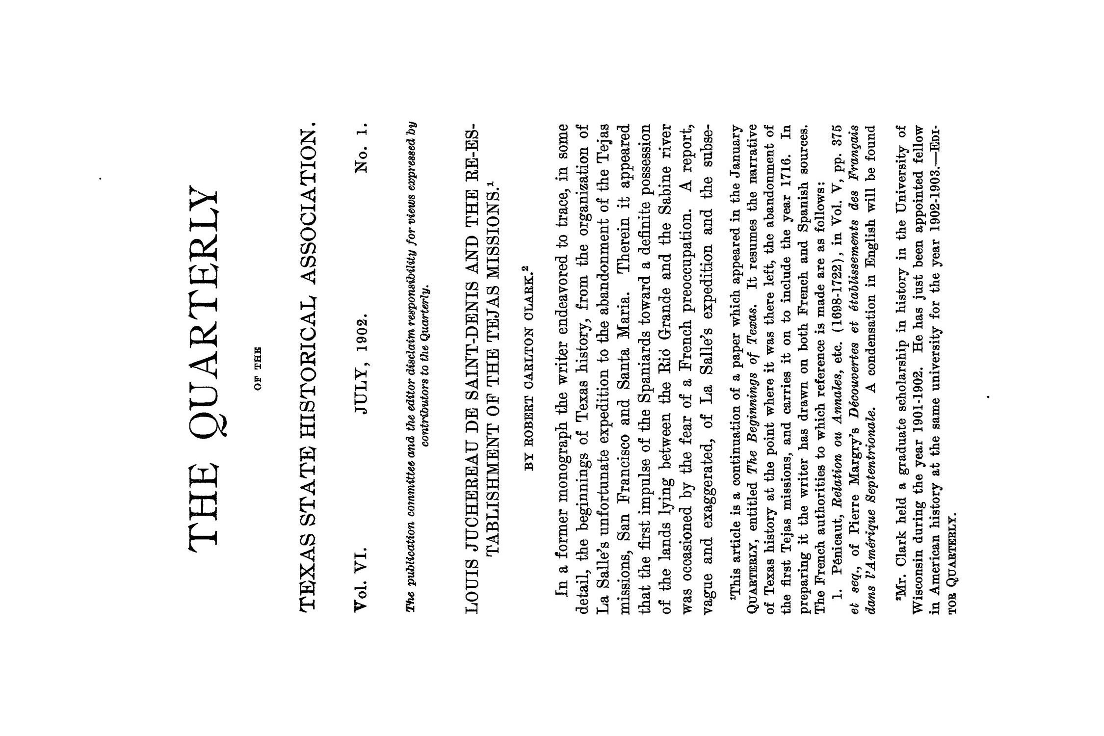The Quarterly of the Texas State Historical Association, Volume 6, July 1902 - April, 1903                                                                                                      1