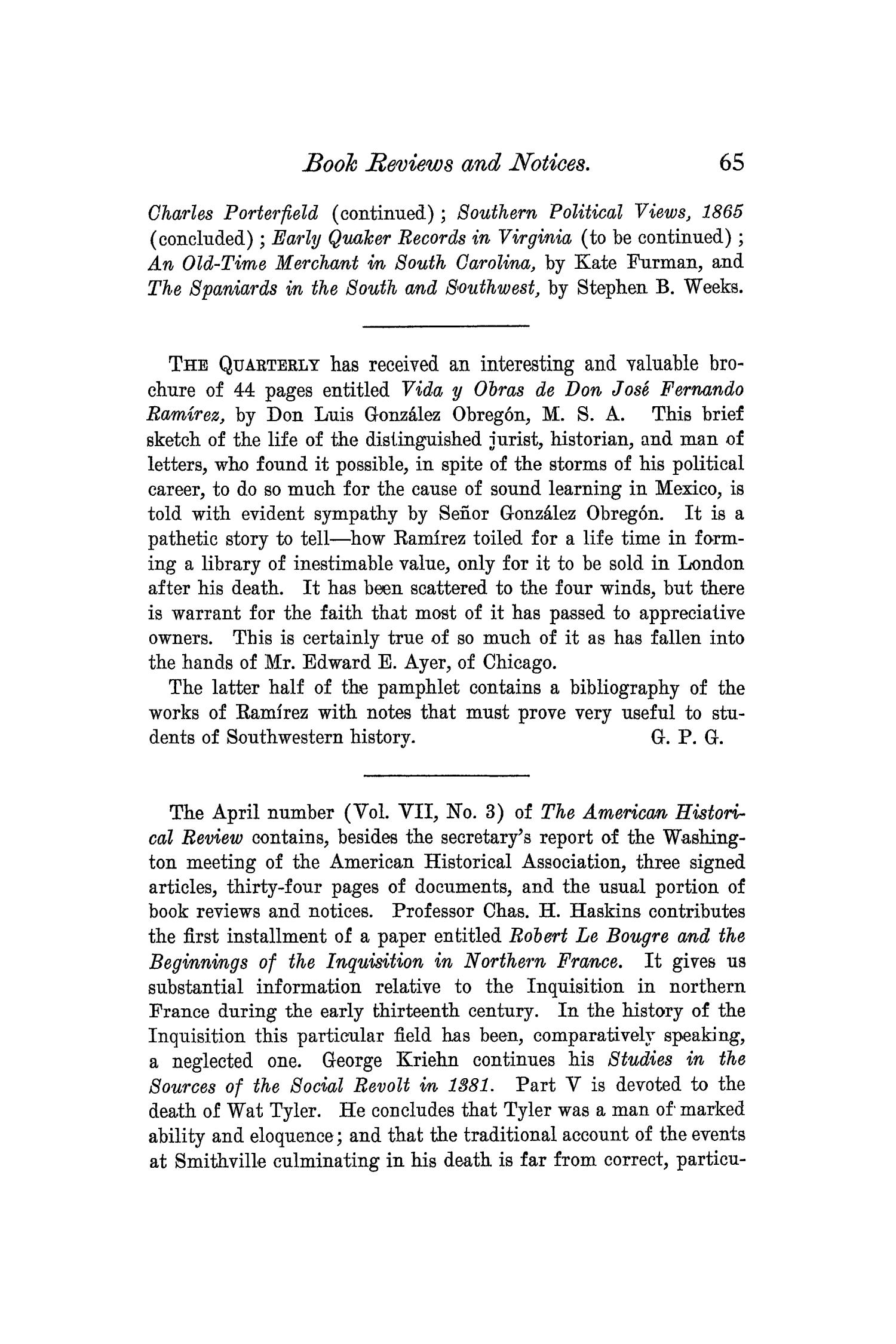 The Quarterly of the Texas State Historical Association, Volume 6, July 1902 - April, 1903                                                                                                      65