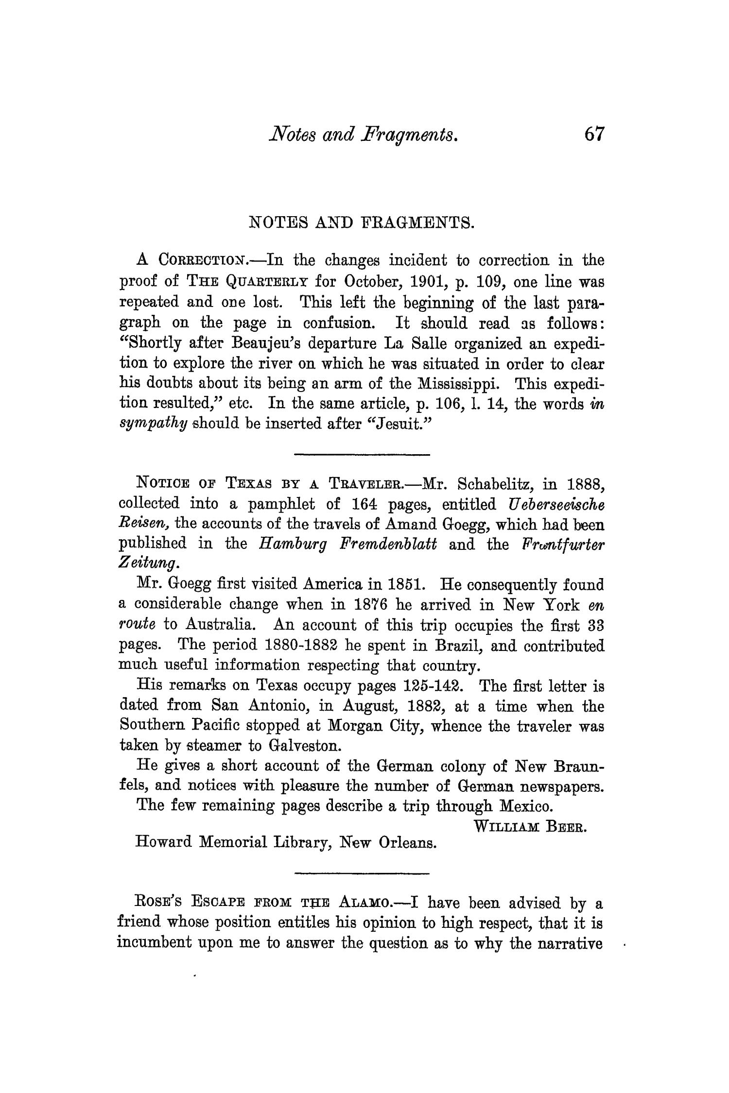 The Quarterly of the Texas State Historical Association, Volume 6, July 1902 - April, 1903                                                                                                      67