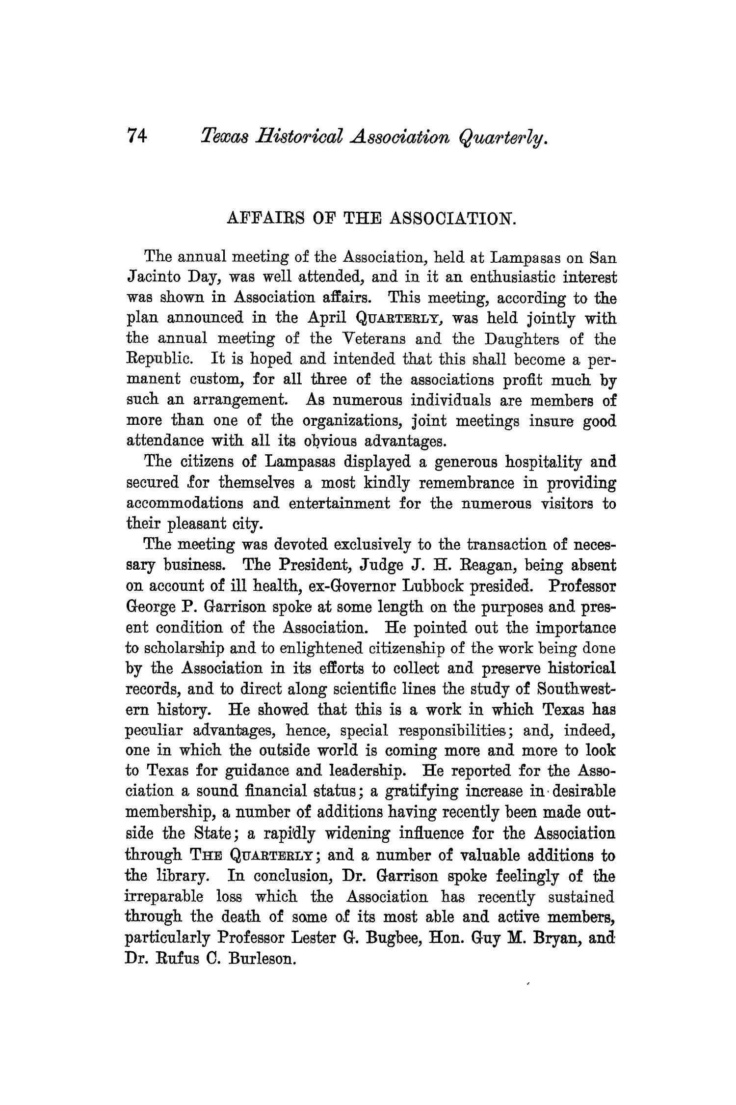 The Quarterly of the Texas State Historical Association, Volume 6, July 1902 - April, 1903                                                                                                      74