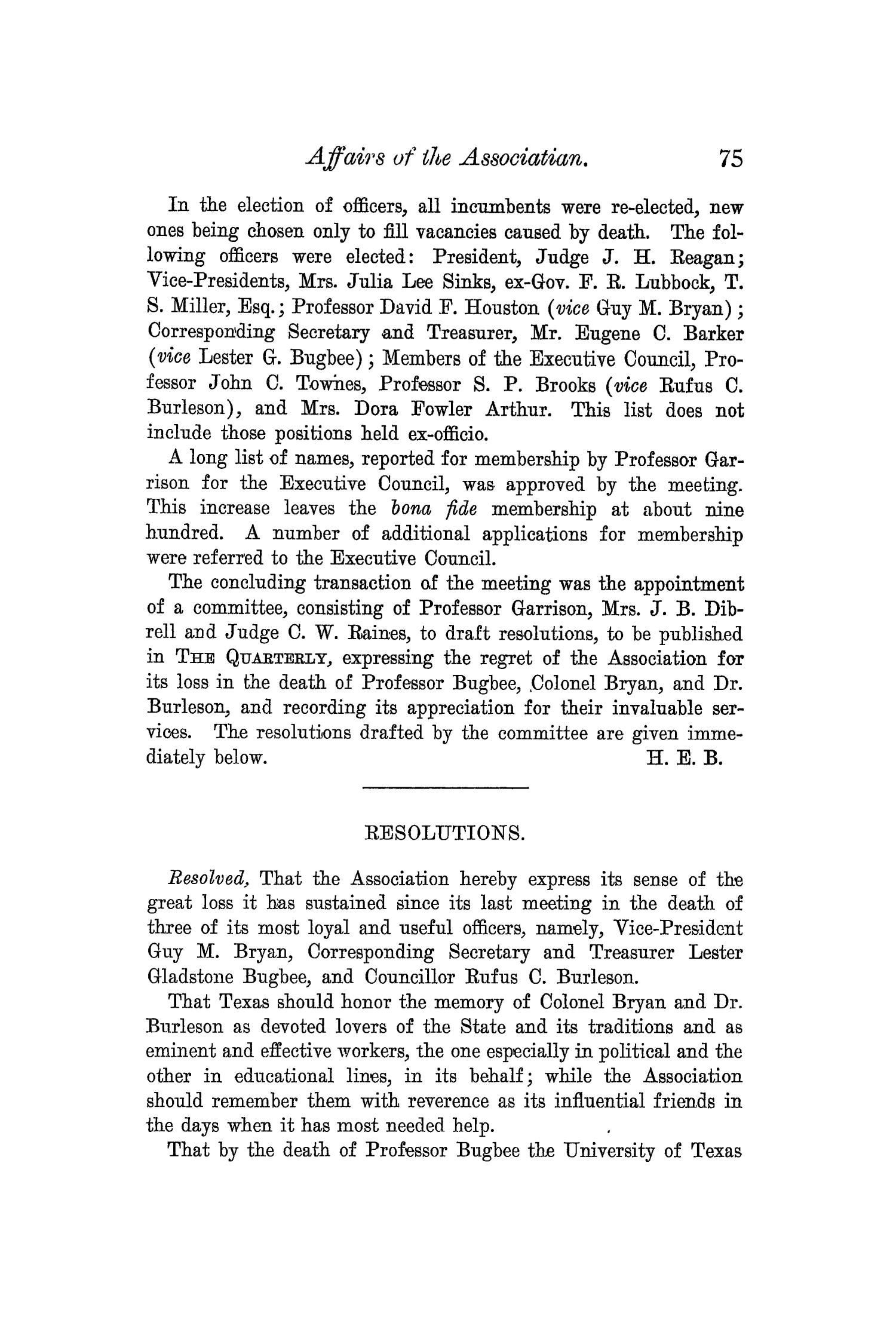 The Quarterly of the Texas State Historical Association, Volume 6, July 1902 - April, 1903                                                                                                      75