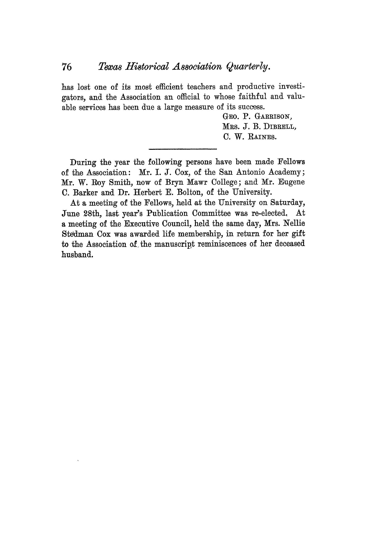 The Quarterly of the Texas State Historical Association, Volume 6, July 1902 - April, 1903                                                                                                      76
