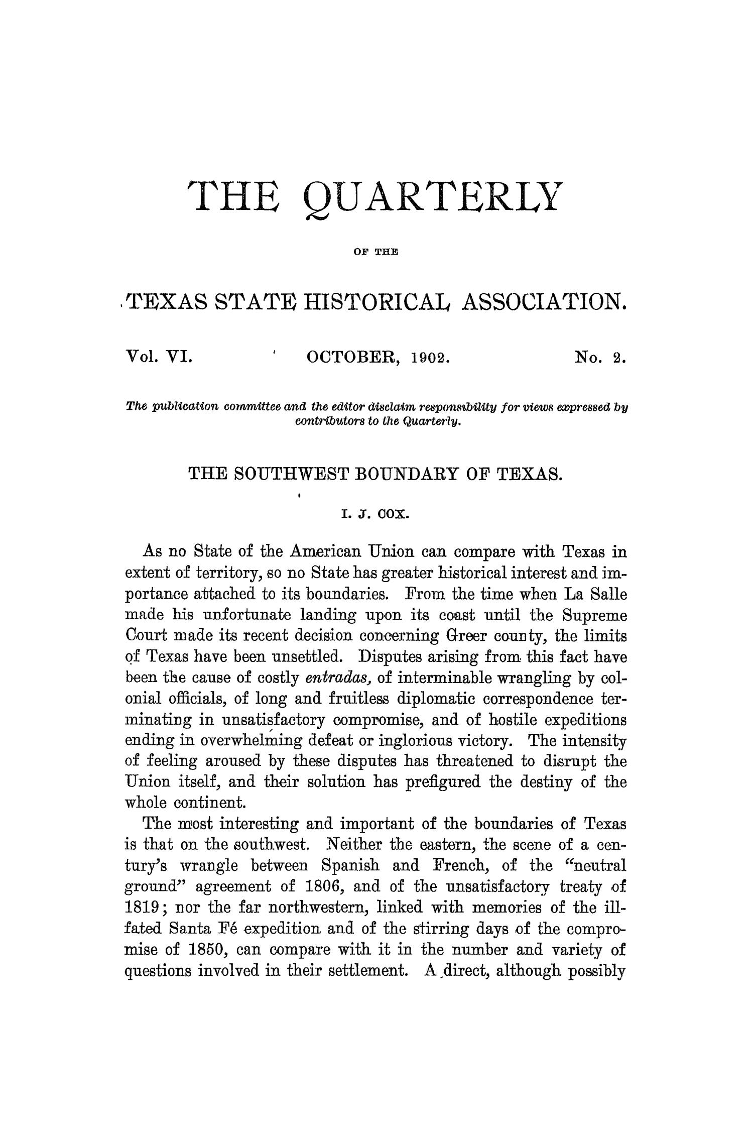The Quarterly of the Texas State Historical Association, Volume 6, July 1902 - April, 1903                                                                                                      81