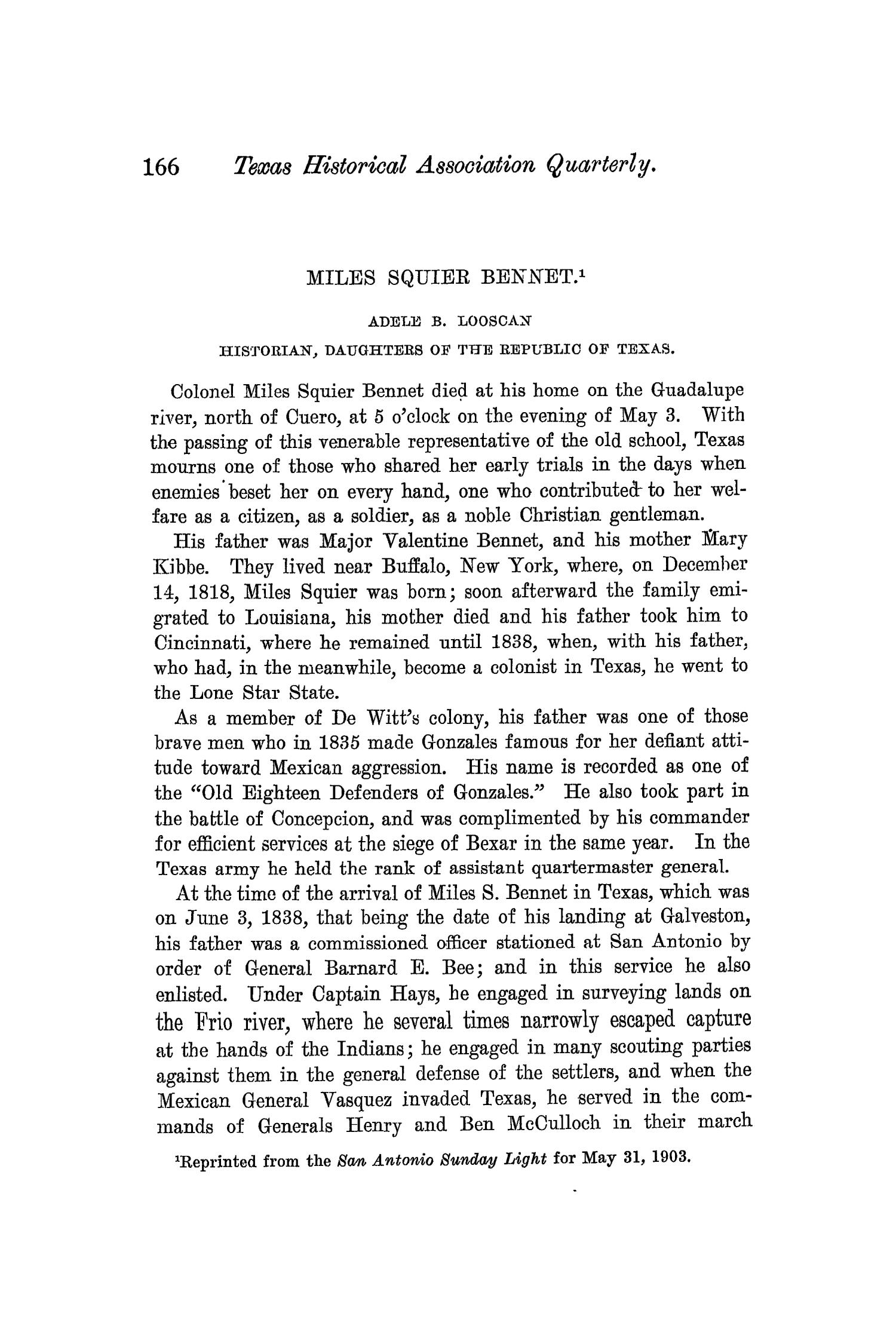 The Quarterly of the Texas State Historical Association, Volume 7, July 1903 - April, 1904                                                                                                      166