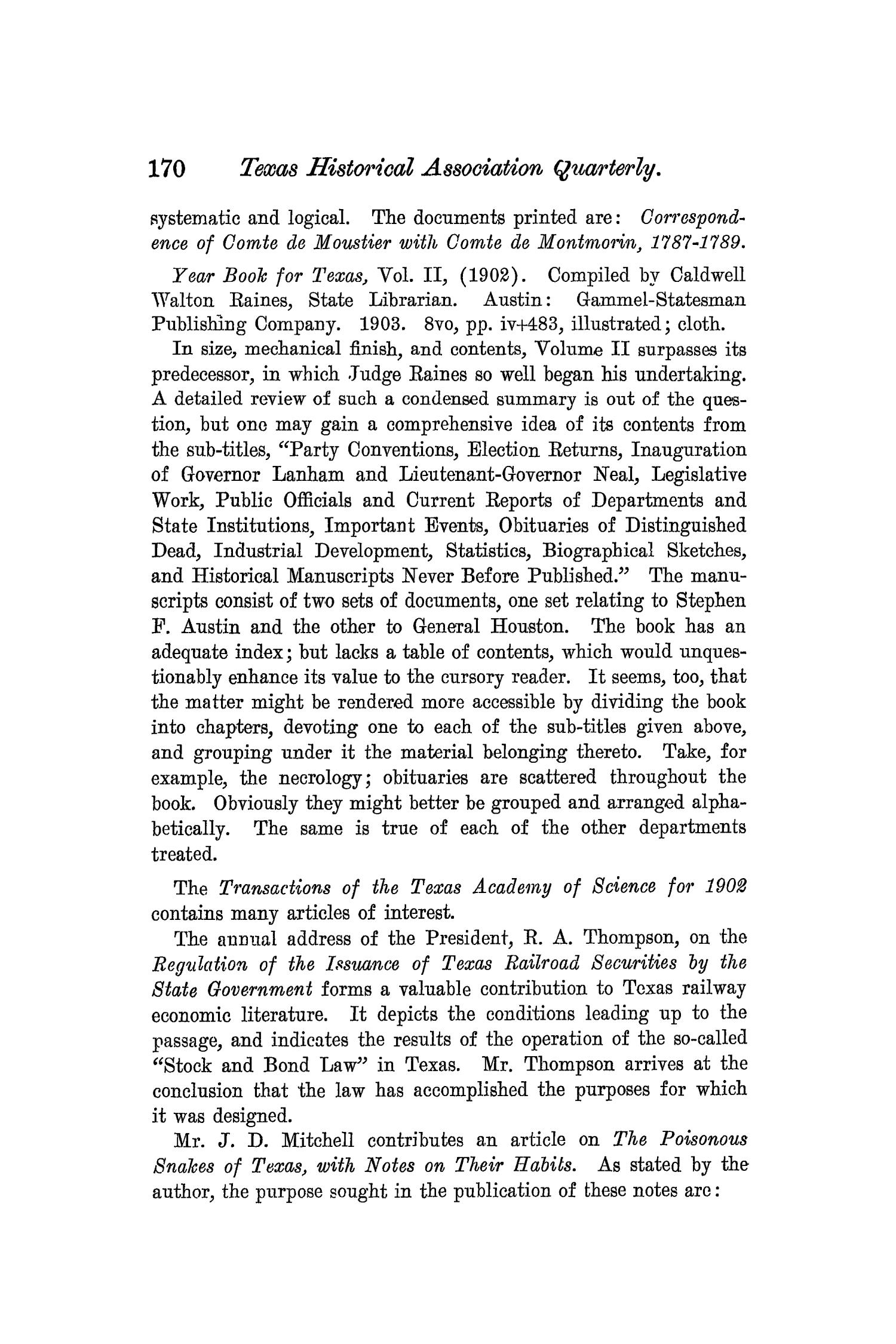 The Quarterly of the Texas State Historical Association, Volume 7, July 1903 - April, 1904                                                                                                      170