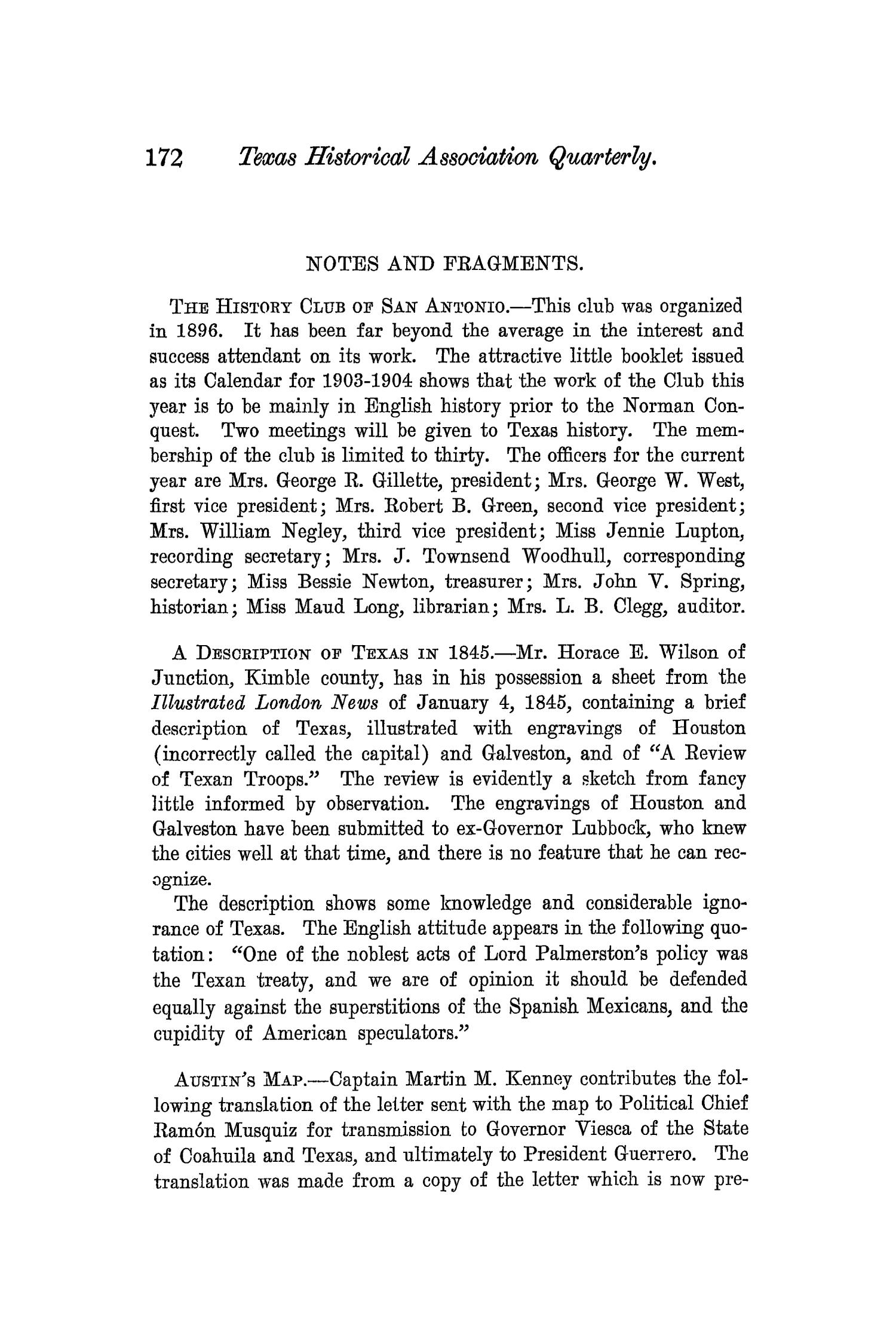 The Quarterly of the Texas State Historical Association, Volume 7, July 1903 - April, 1904                                                                                                      172