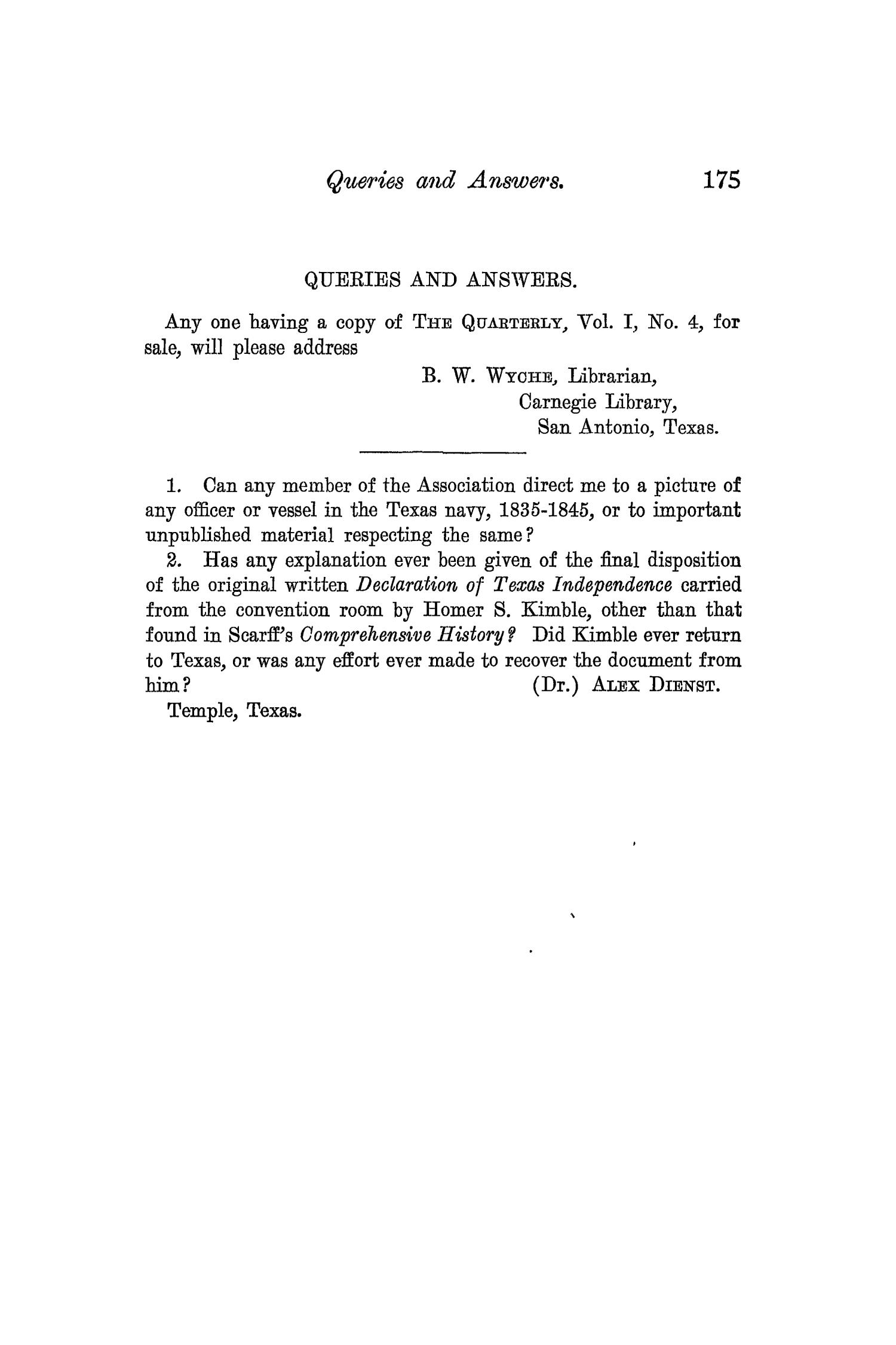 The Quarterly of the Texas State Historical Association, Volume 7, July 1903 - April, 1904                                                                                                      175