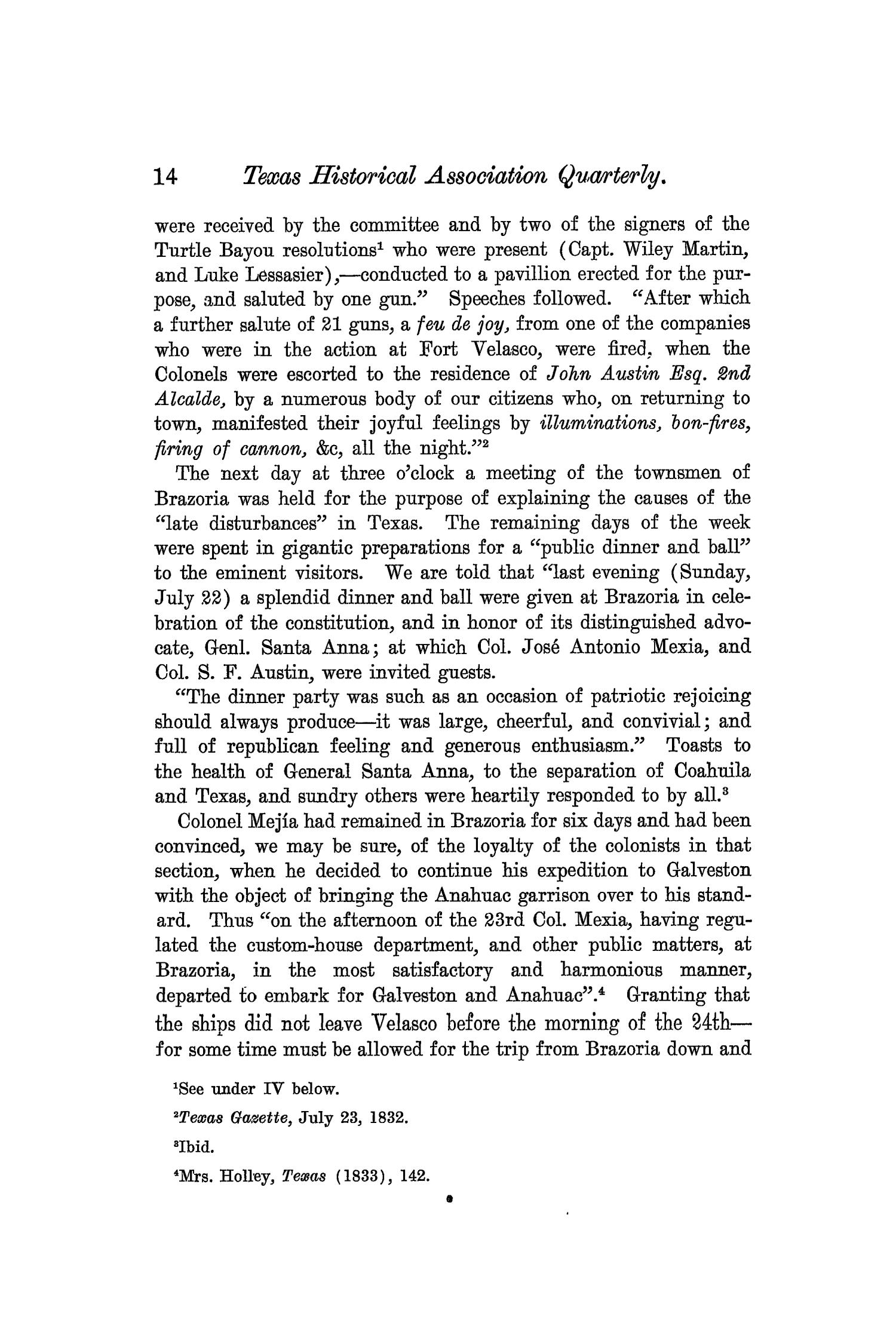 The Quarterly of the Texas State Historical Association, Volume 7, July 1903 - April, 1904                                                                                                      14