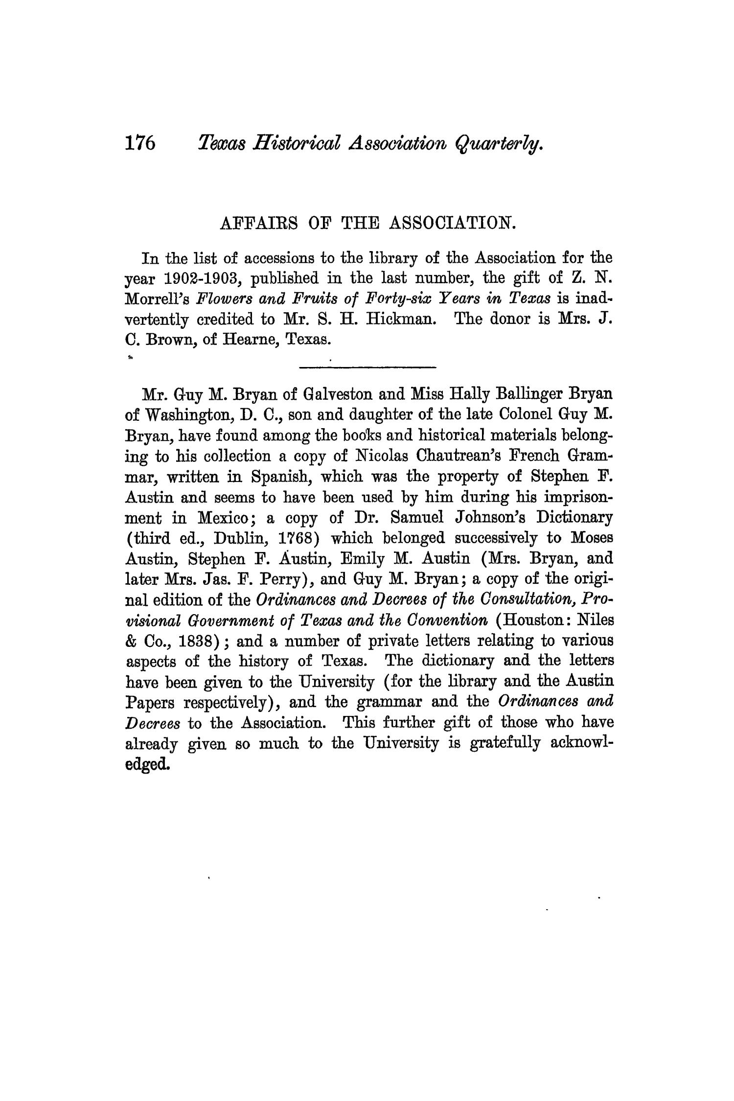 The Quarterly of the Texas State Historical Association, Volume 7, July 1903 - April, 1904                                                                                                      176