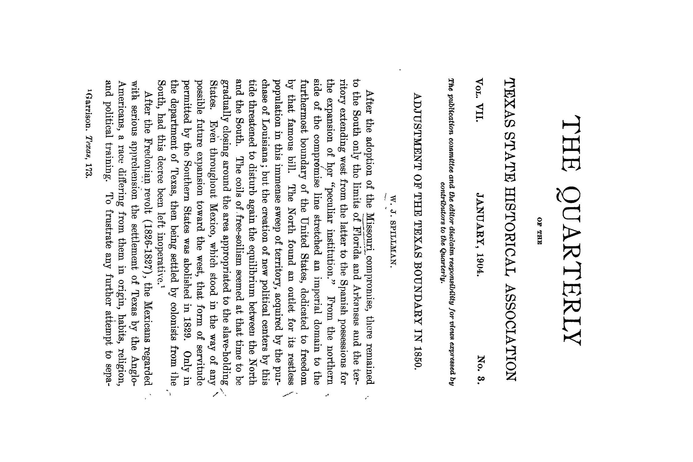 The Quarterly of the Texas State Historical Association, Volume 7, July 1903 - April, 1904                                                                                                      177