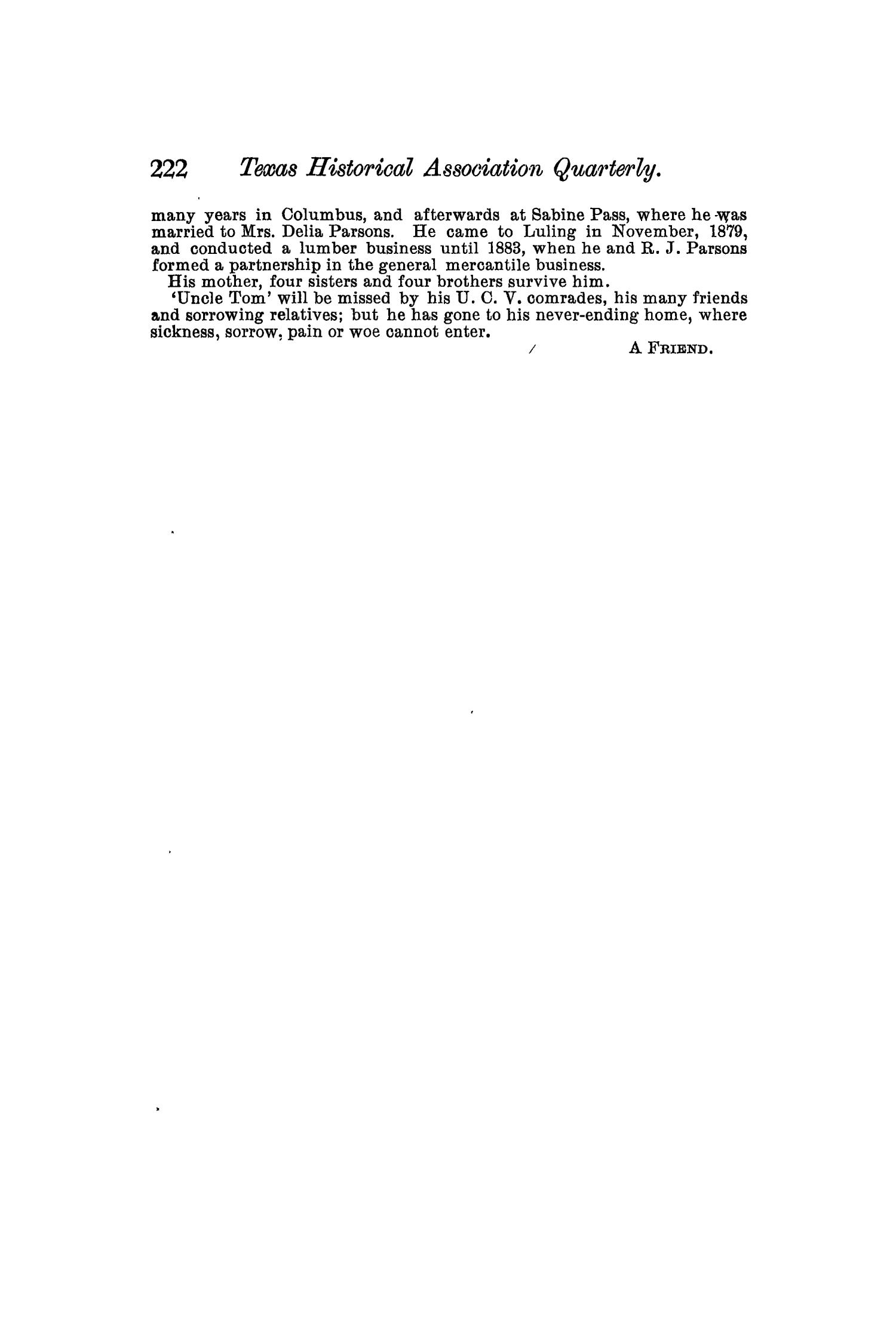 The Quarterly of the Texas State Historical Association, Volume 7, July 1903 - April, 1904                                                                                                      222