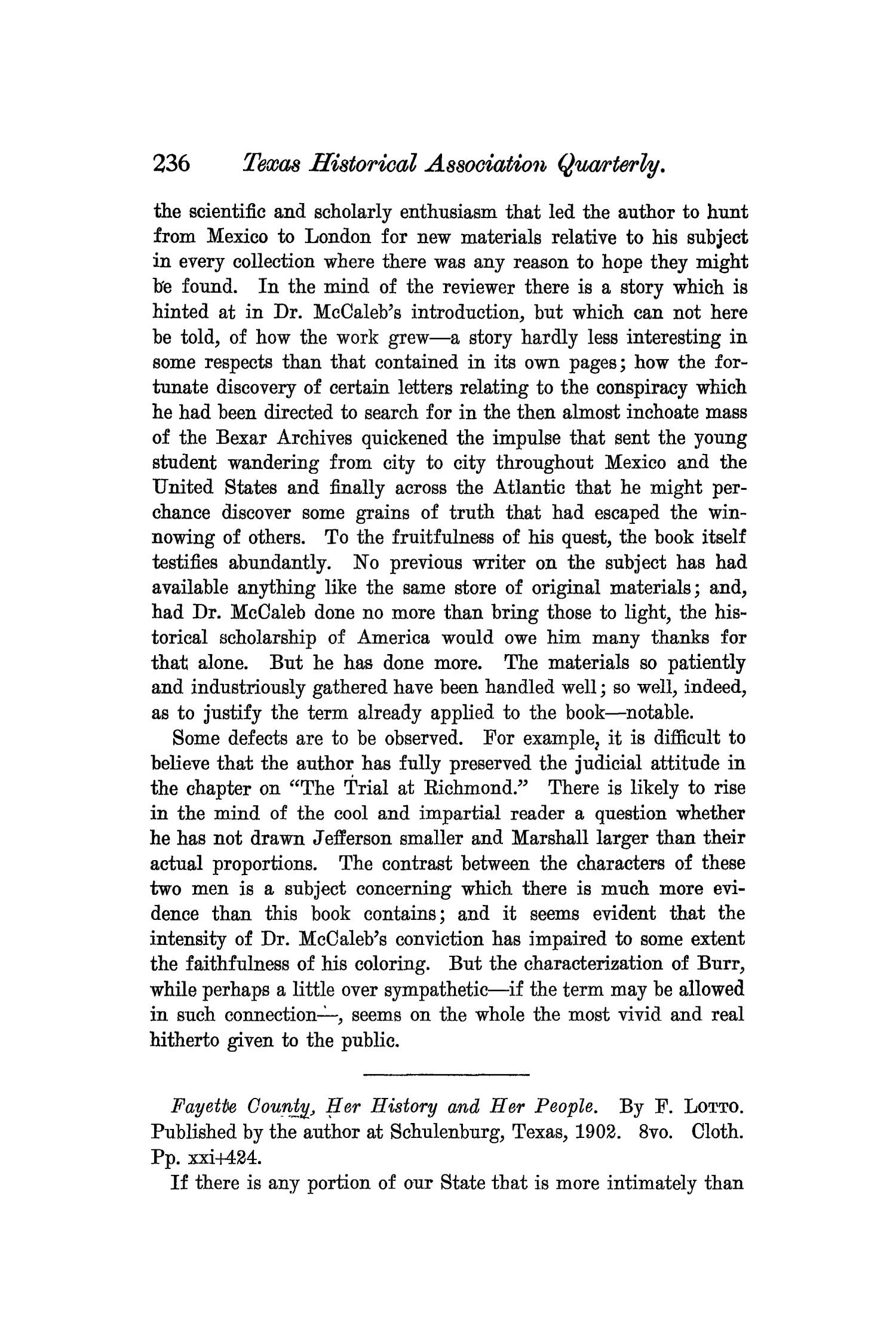 The Quarterly of the Texas State Historical Association, Volume 7, July 1903 - April, 1904                                                                                                      236