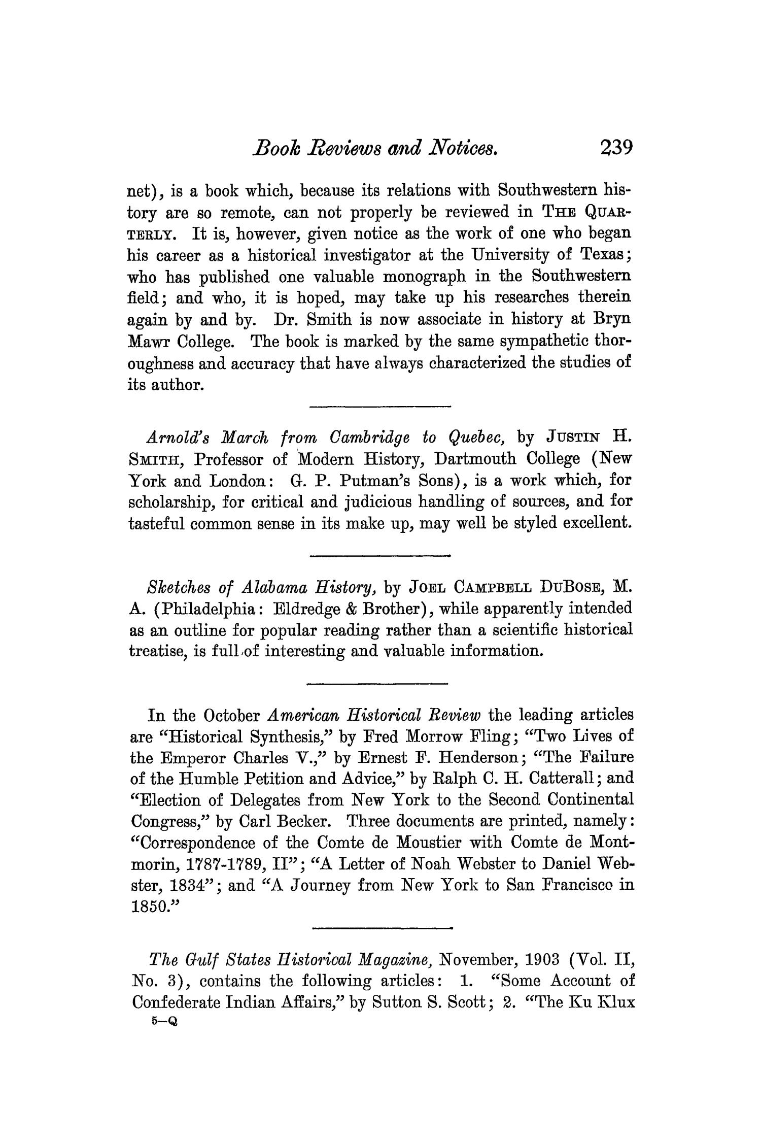 The Quarterly of the Texas State Historical Association, Volume 7, July 1903 - April, 1904                                                                                                      239
