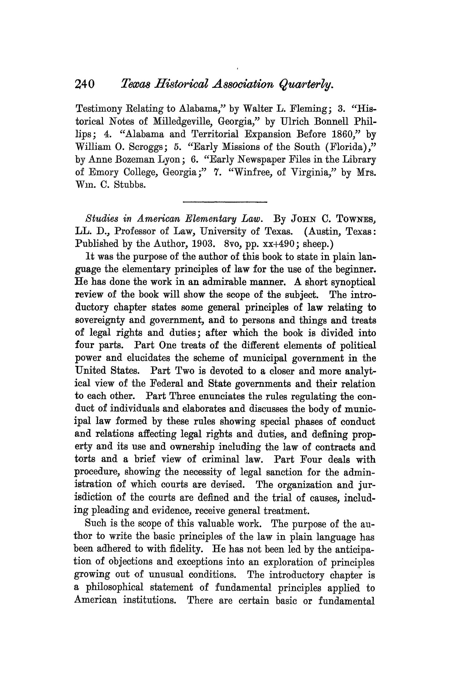 The Quarterly of the Texas State Historical Association, Volume 7, July 1903 - April, 1904                                                                                                      240