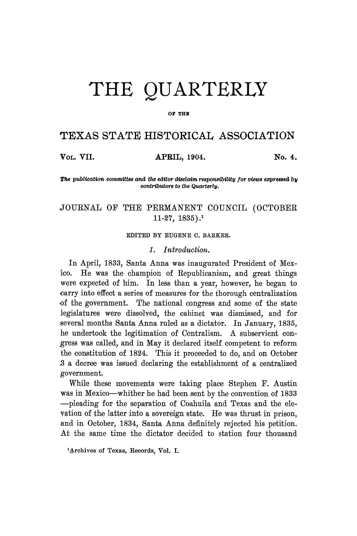 The Quarterly of the Texas State Historical Association, Volume 7, July 1903 - April, 1904                                                                                                      249