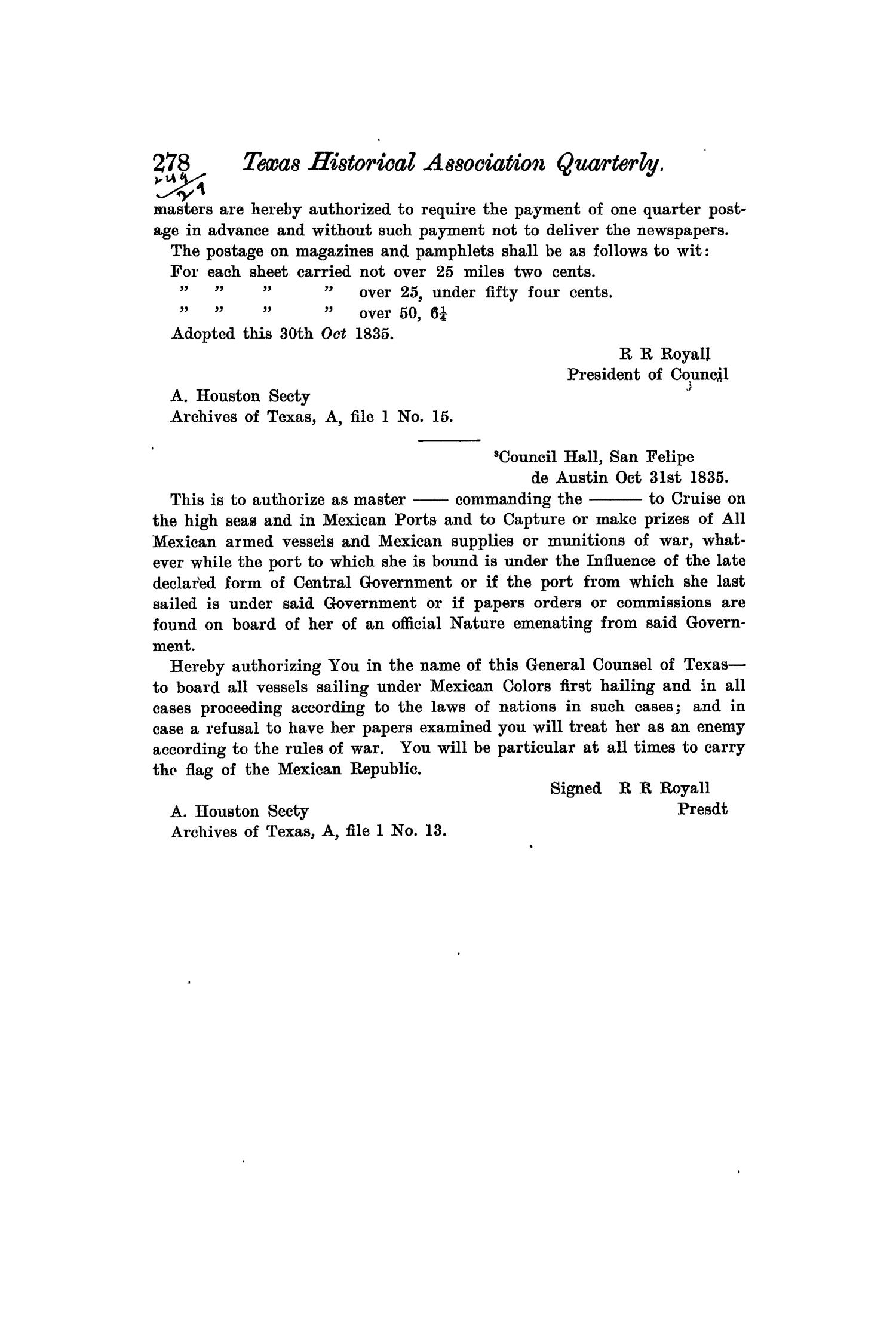 The Quarterly of the Texas State Historical Association, Volume 7, July 1903 - April, 1904                                                                                                      278