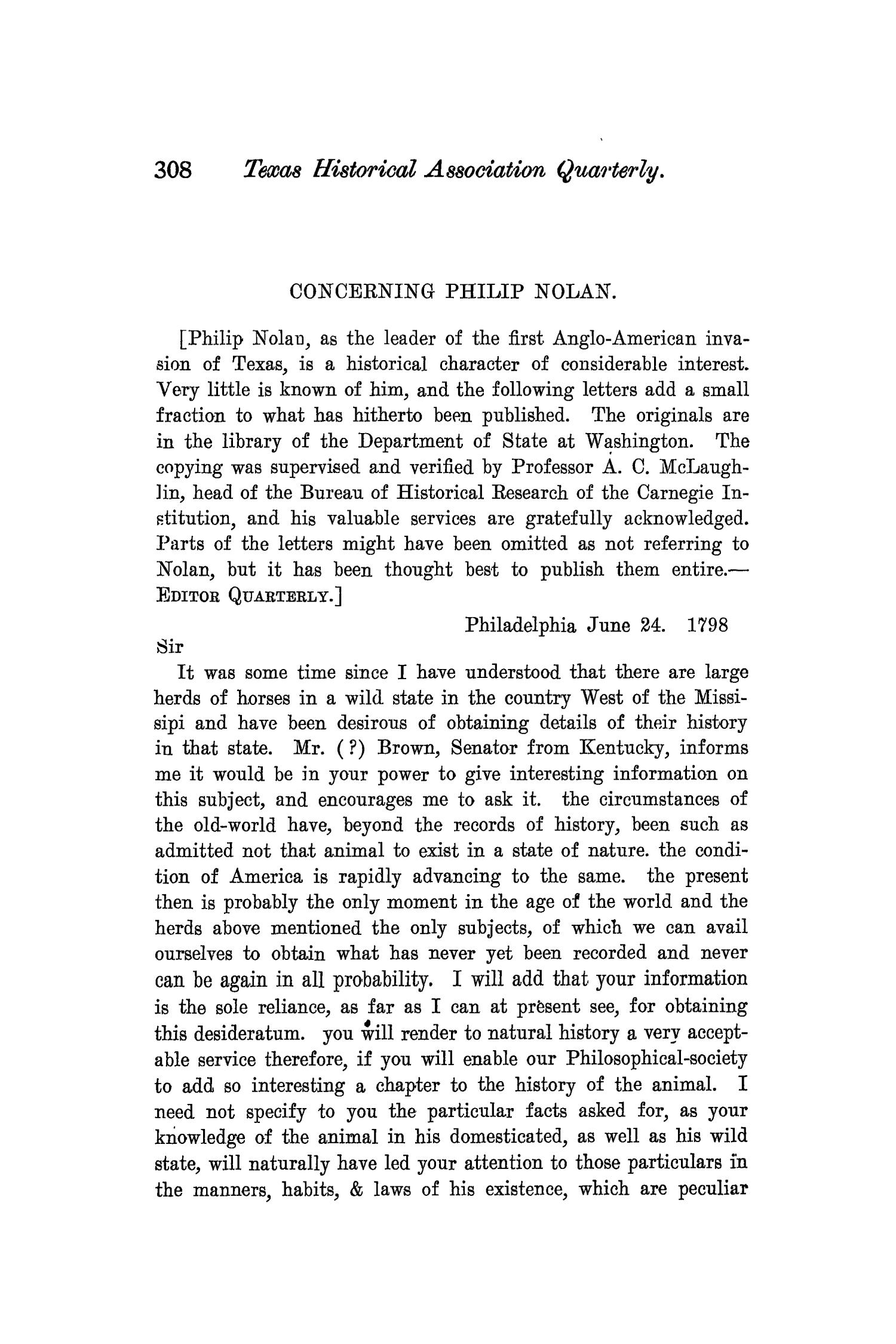 The Quarterly of the Texas State Historical Association, Volume 7, July 1903 - April, 1904                                                                                                      308
